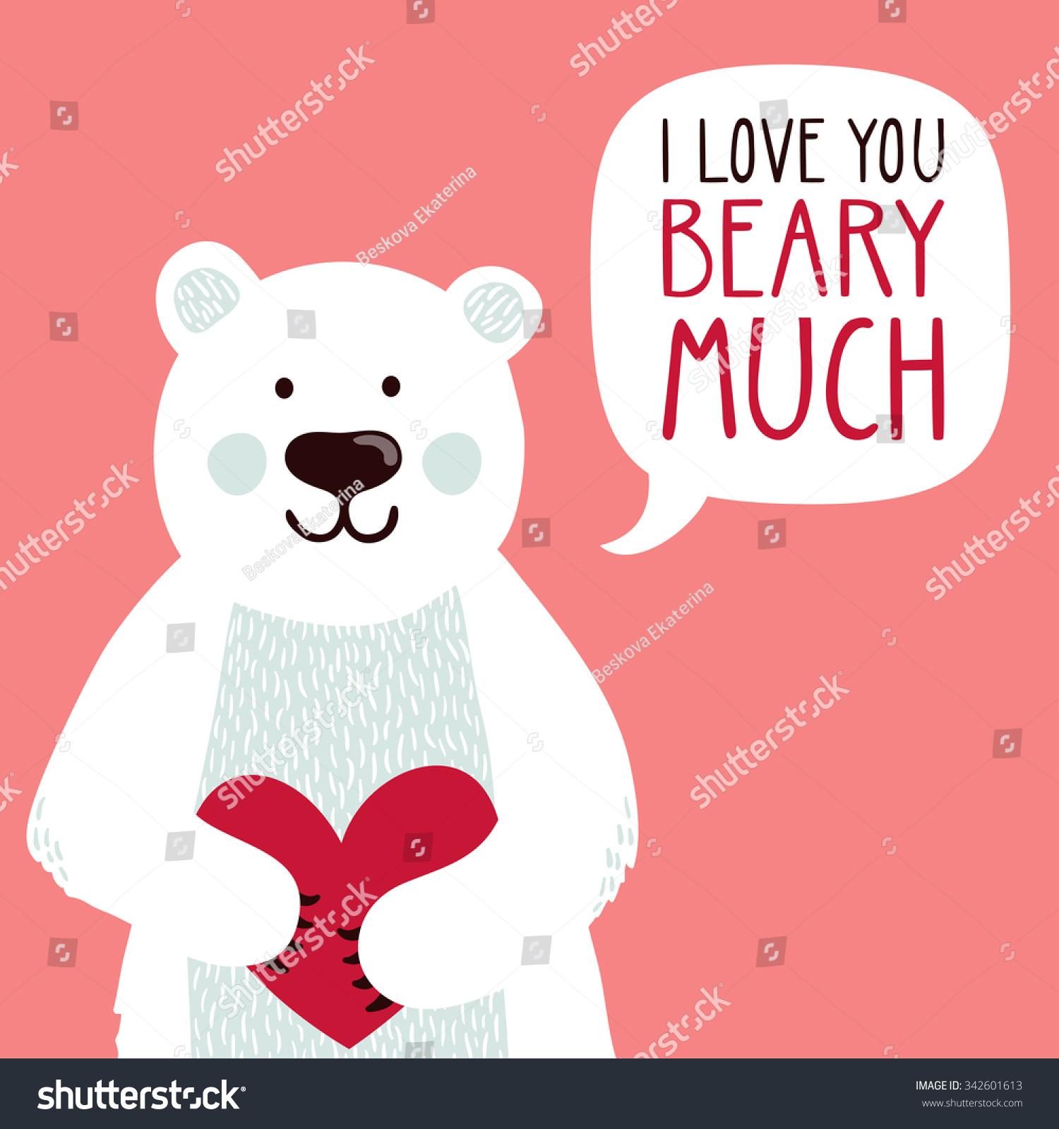 Vector Illustration Cute Polar Bear Heart Stock Vector ...