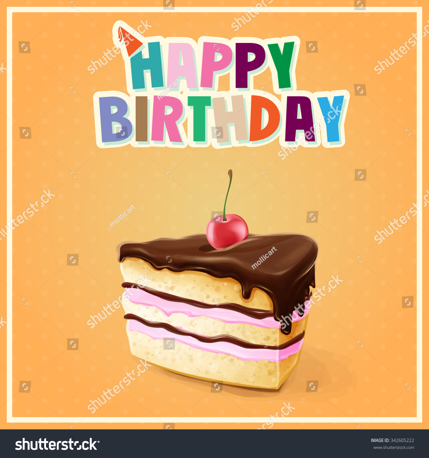 Happy Birthday Cake Banner Stock Vector Royalty Free 342605222