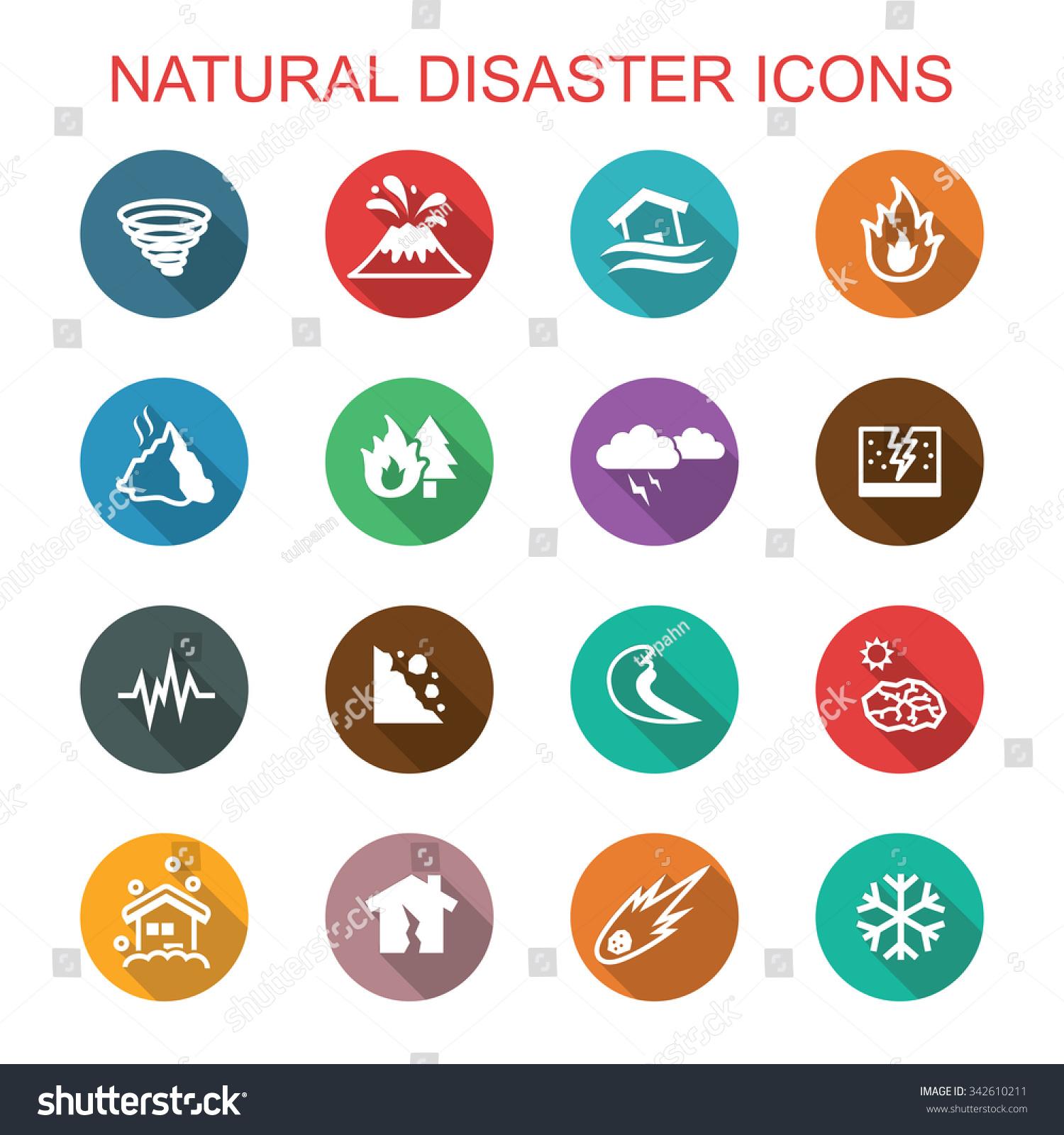 natural disaster long shadow icons flat stock vector