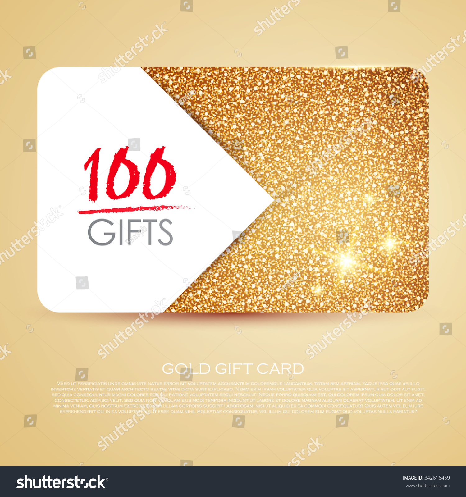 Gold Gift Coupon Gift Card Discount Stock Vector 342616469 ...