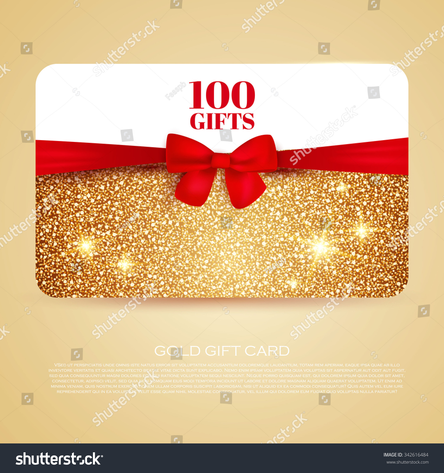 Gold Gift Coupon Gift Card Discount Stock Vector 342616484 ...