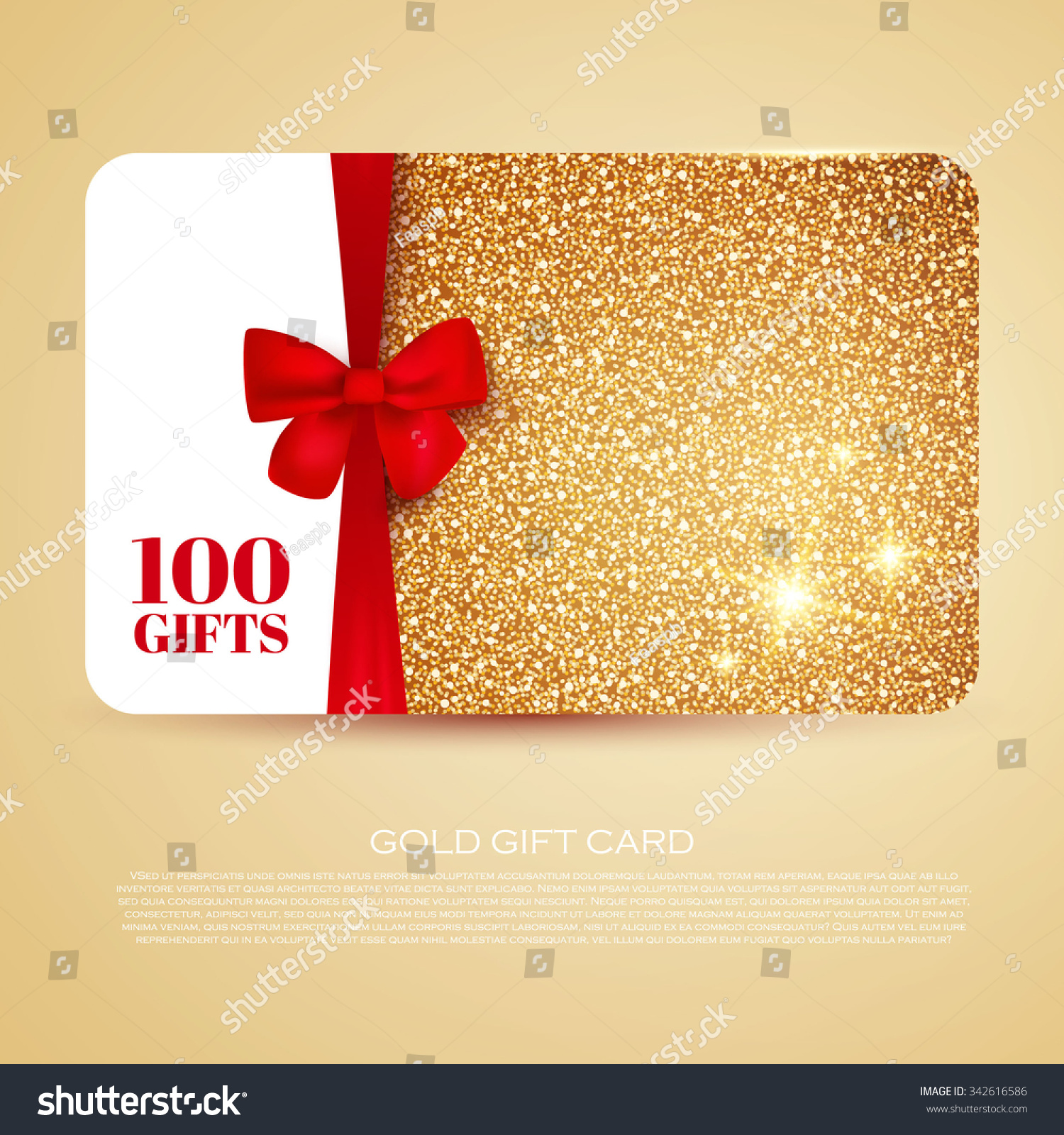 Gold Gift Coupon Gift Card Discount Stock Vector (2018) 342616586 ...