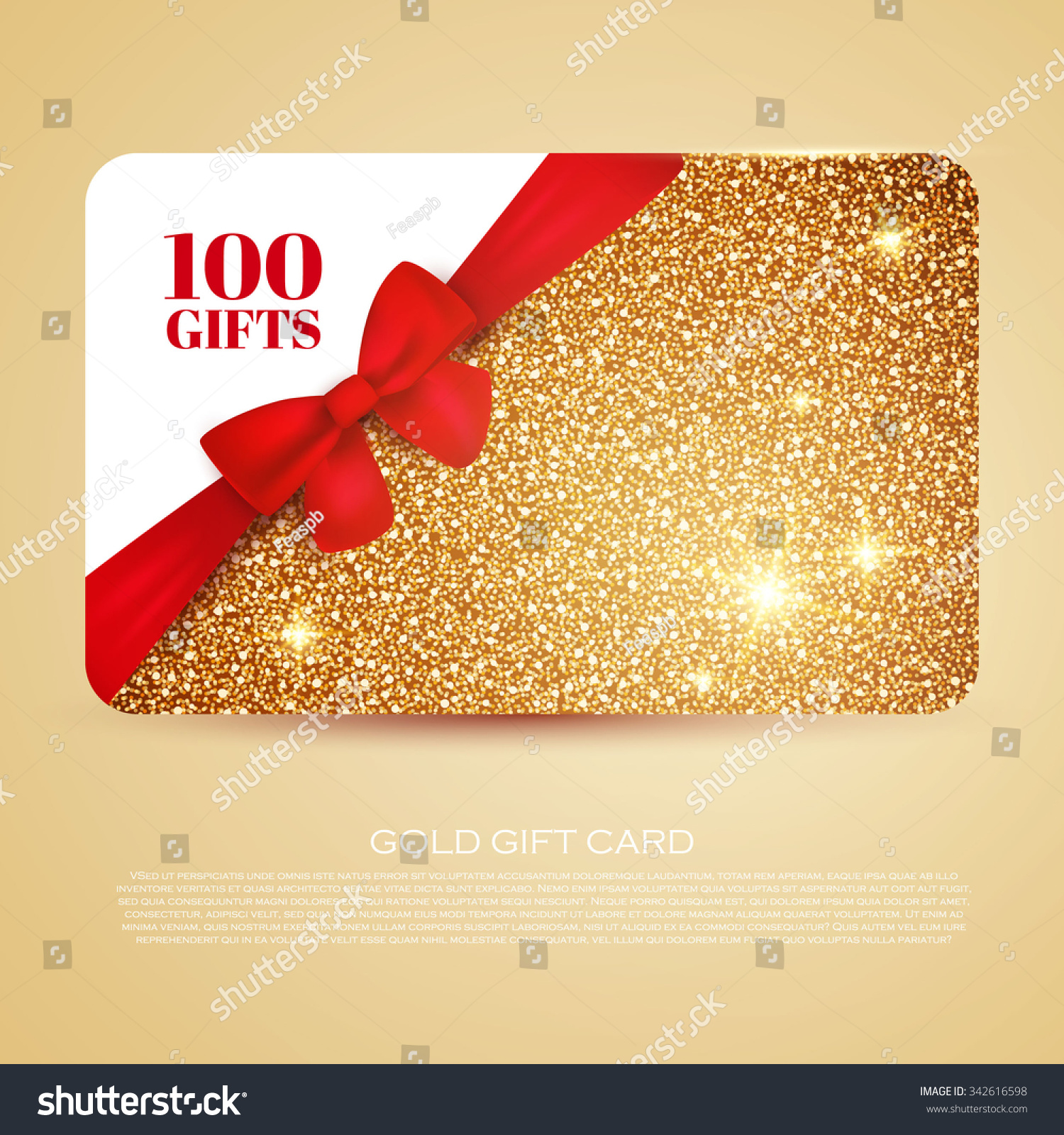 Gold Gift Coupon Gift Card Discount Stock Vector 342616598 ...