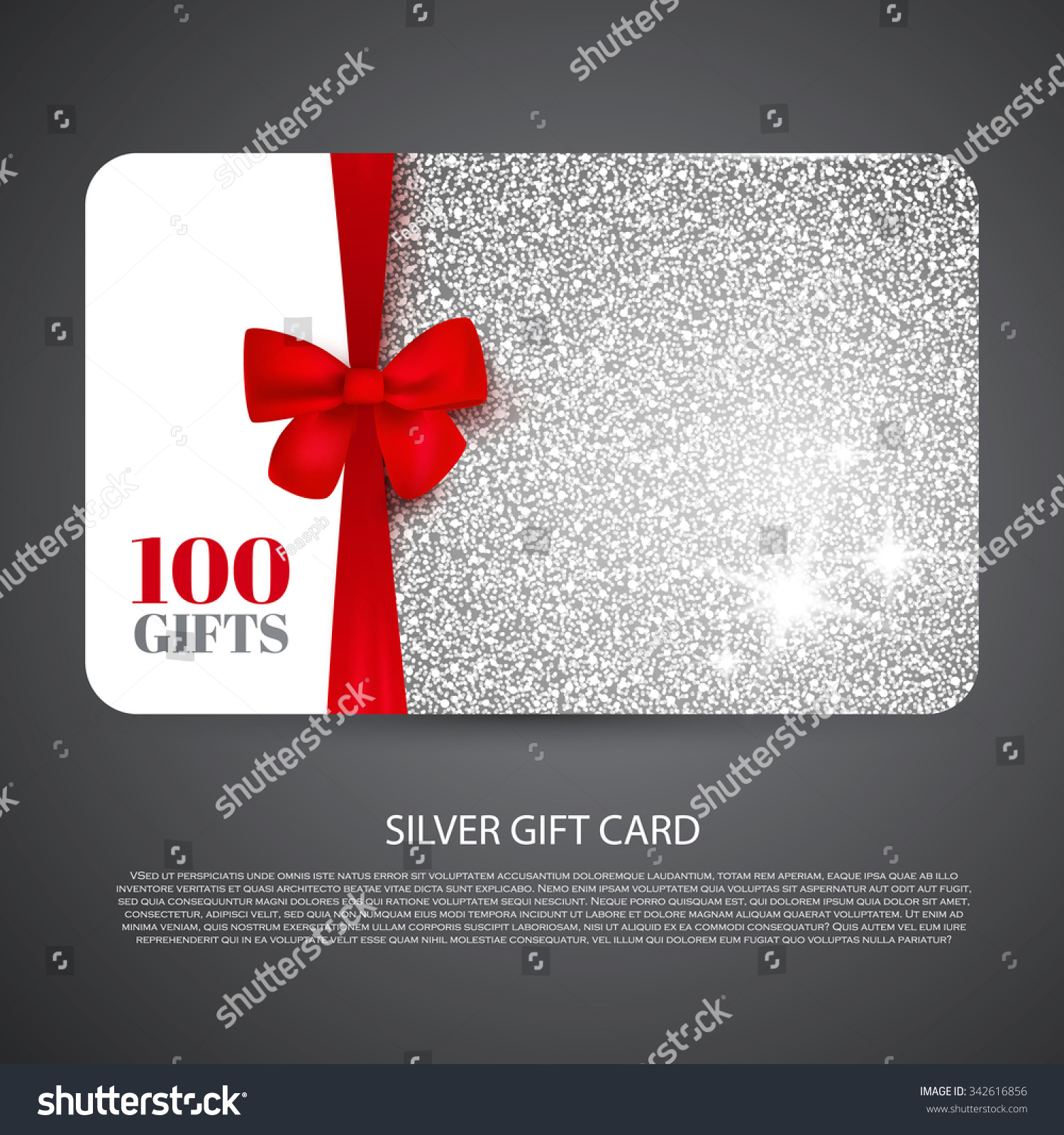Silver Gift Coupon Gift Card Discount Stock Vector 342616856 ...