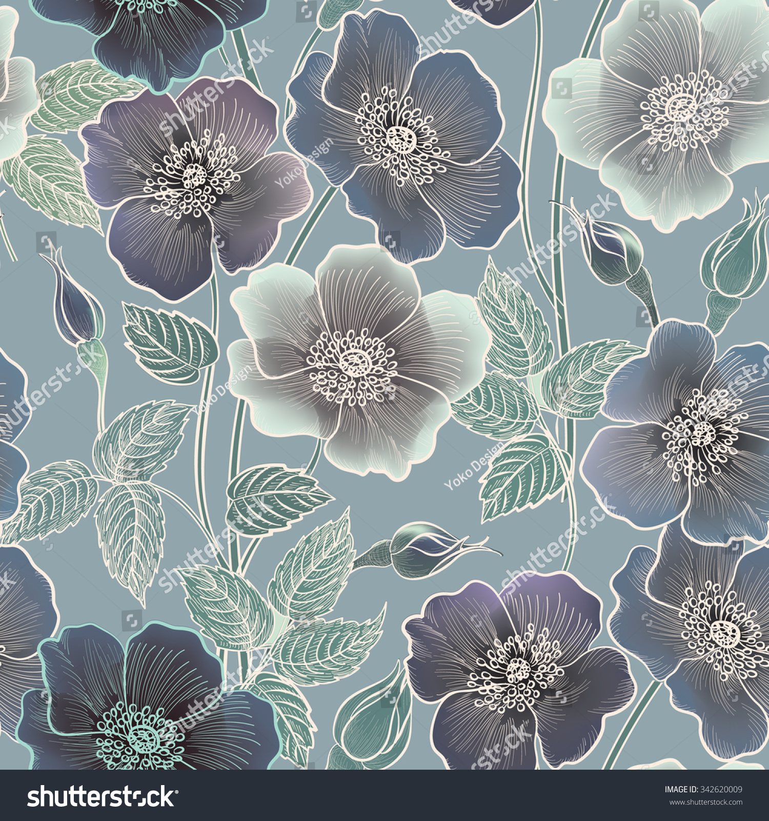 Floral Seamless Pattern Flower Background Floral Stock Vector ...