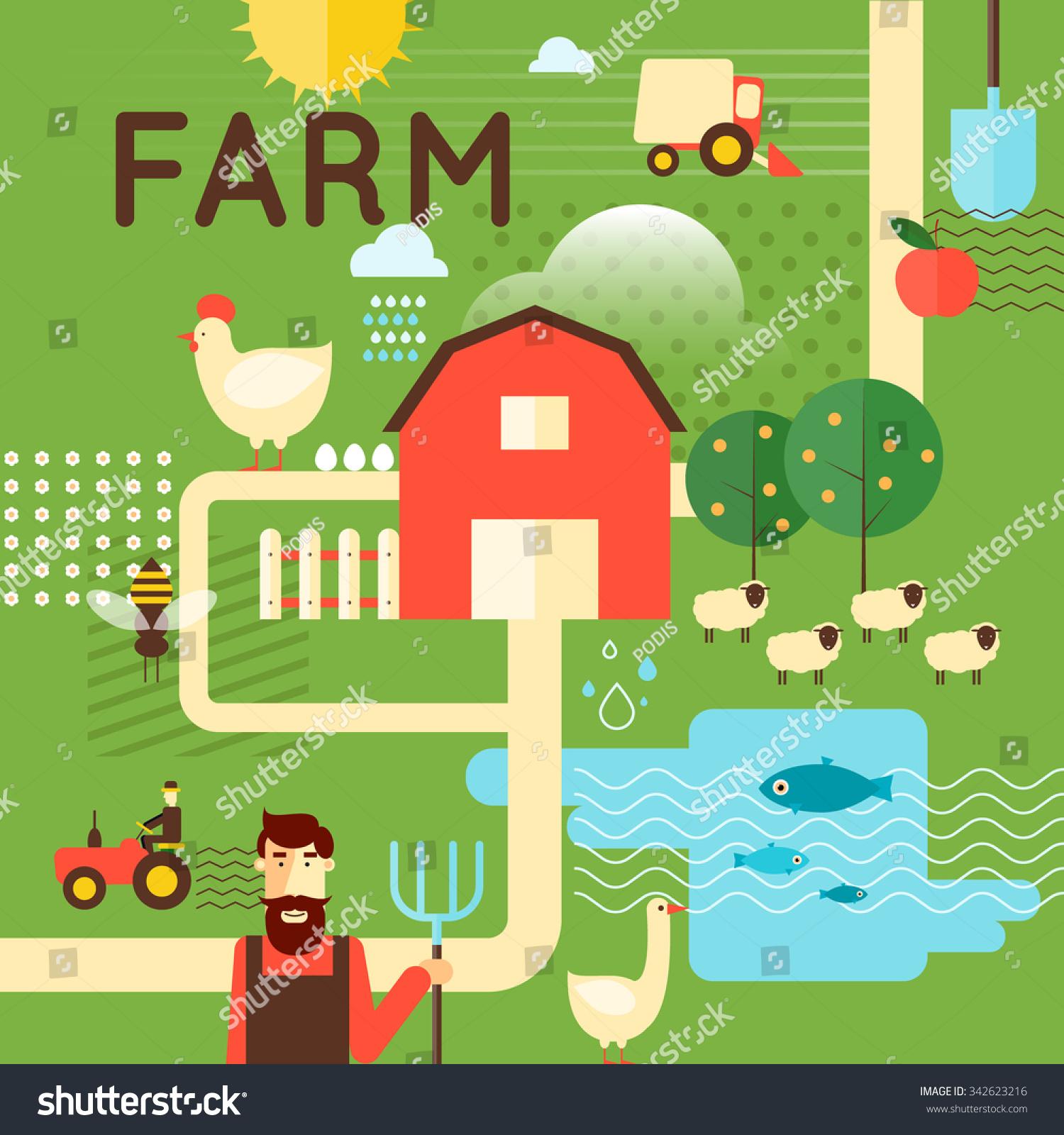 Agri cultures project logo duckdog design - Farm Poster Concept Harvesting Agriculture Flat Design Vector Illustration