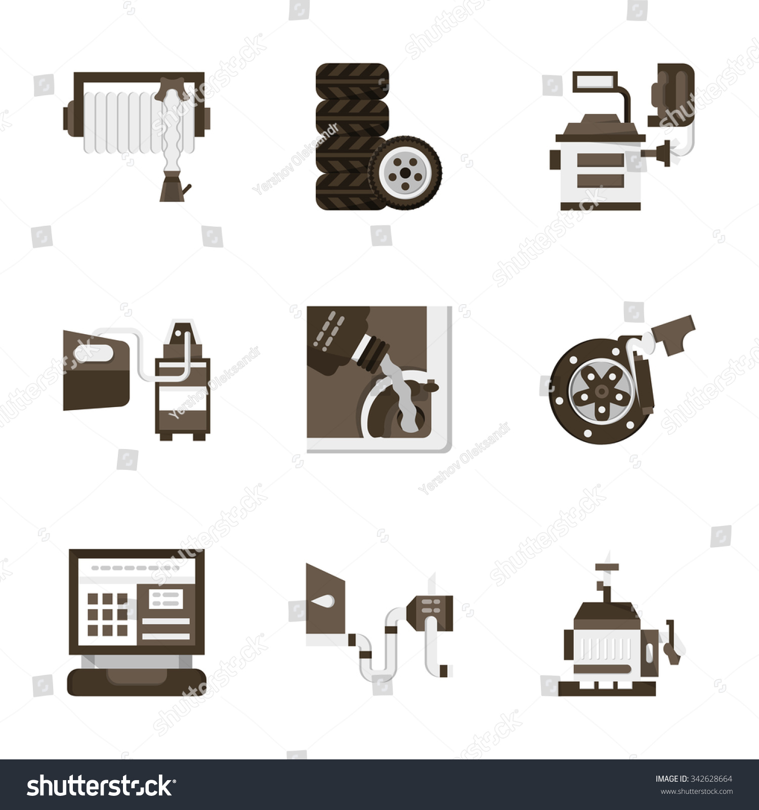 Set stylish flat icons symbols car stock illustration 342628664 set of stylish flat icons and symbols for car service and store equipment for measuring buycottarizona Gallery
