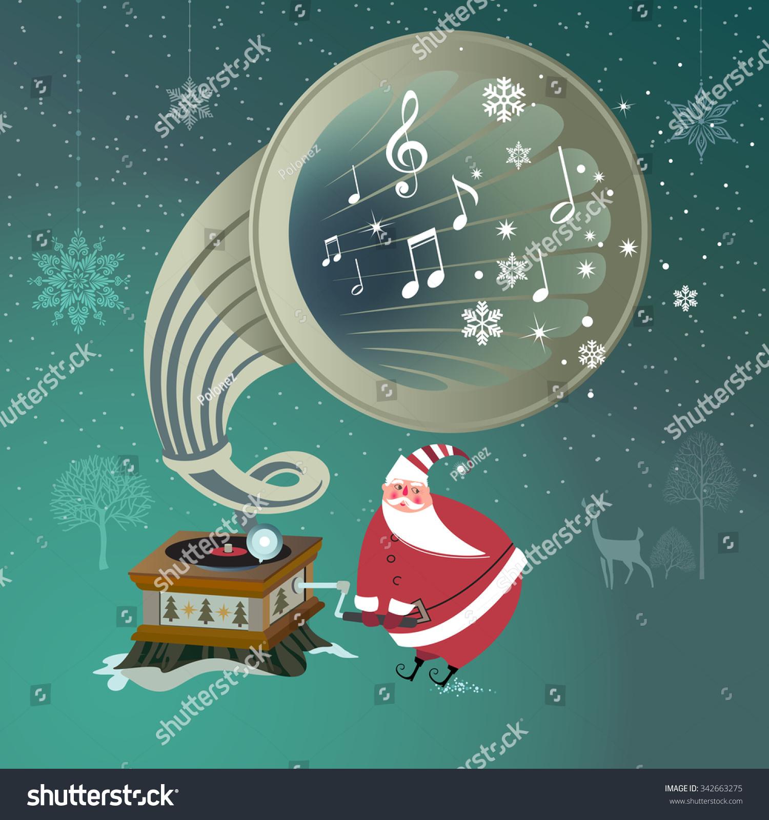 Cute Santa Claus Plays Christmas Music Stock Vector (Royalty Free ...