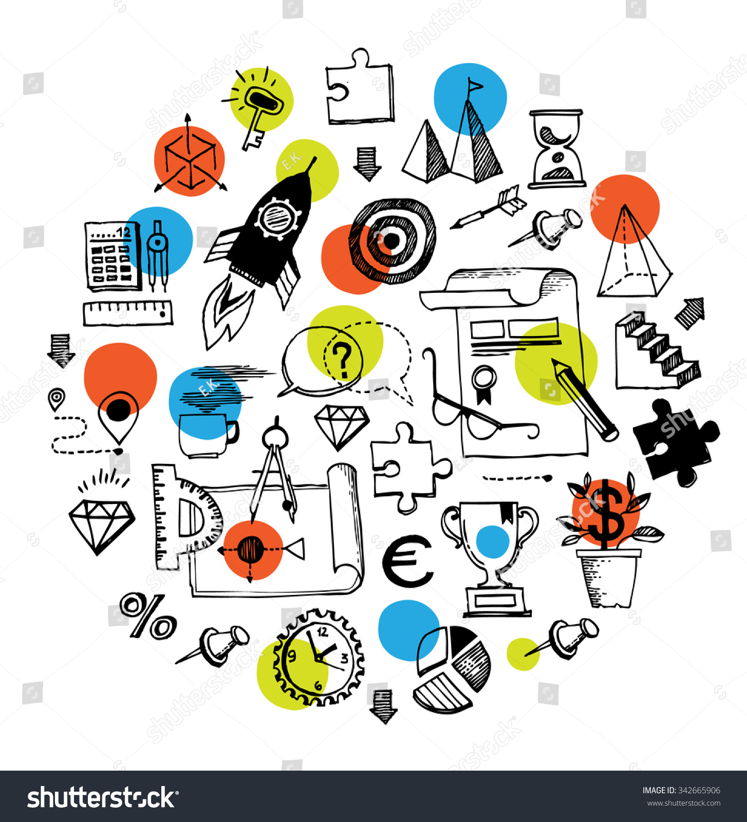 Set hand drawn doodles symbols business stock vector 342665906 set of hand drawn doodles with symbols of business and office life including pie chart geenschuldenfo Choice Image