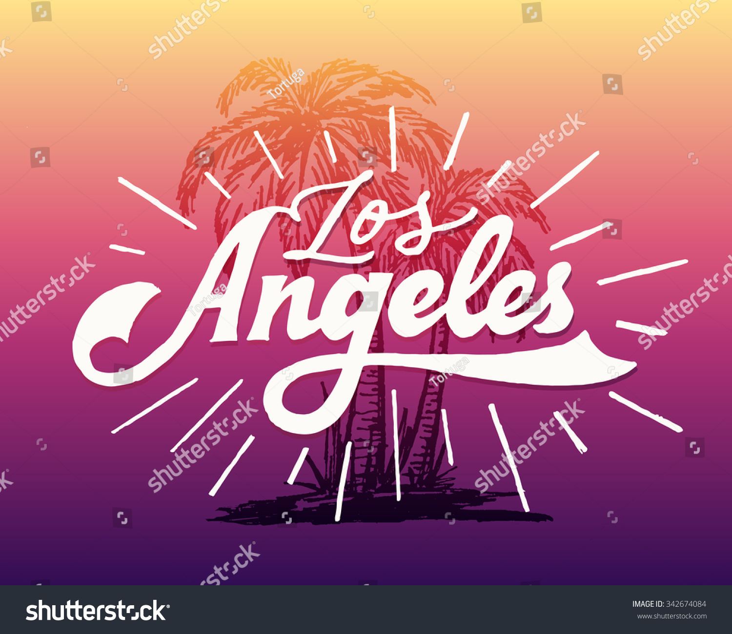 Vintage Hand Lettered Textured Los Angeles Stock Vector - Los angeles posters vintage