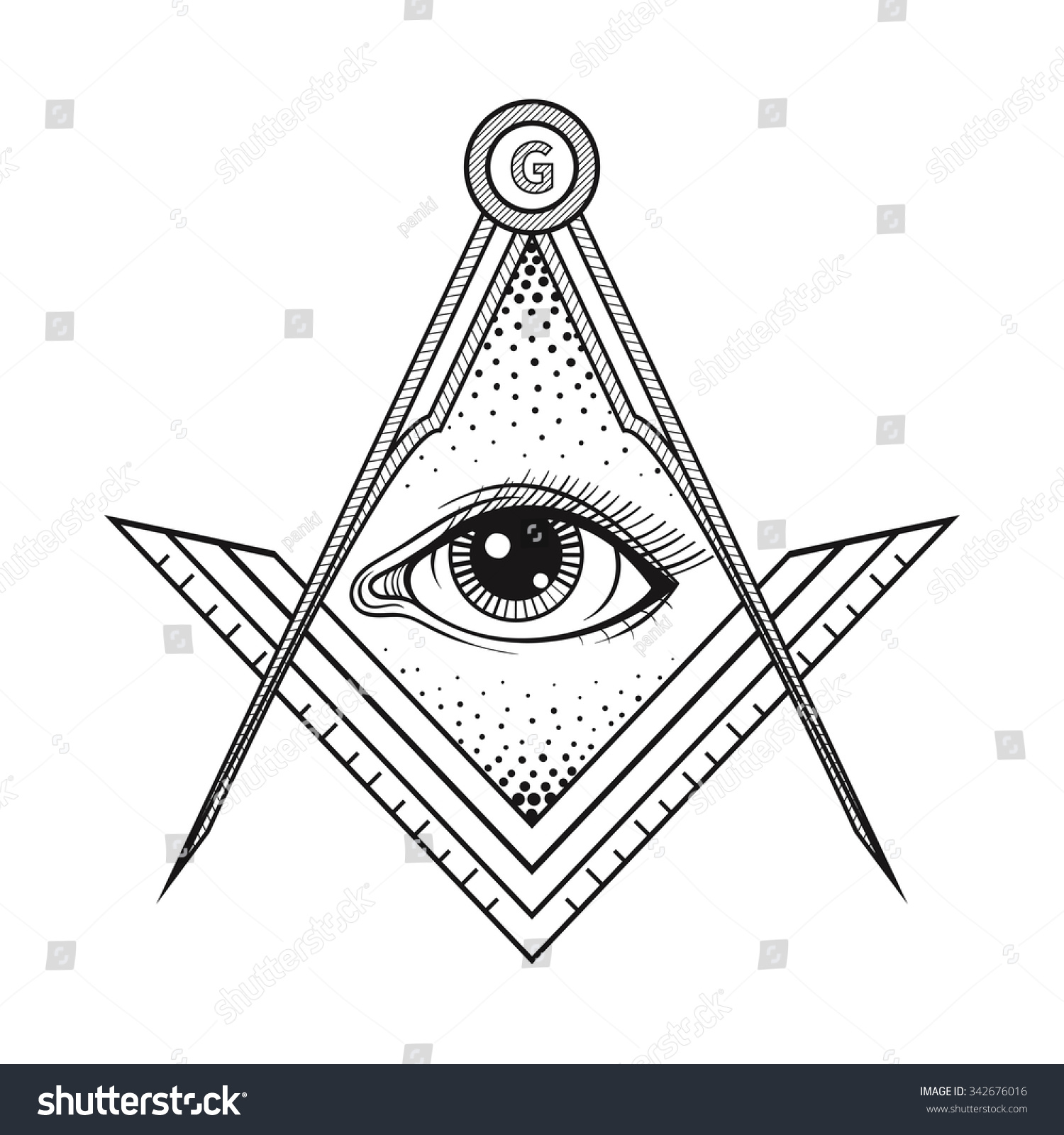 Masonic Square Compass Symbol All Seeing Stock Vector Royalty Free