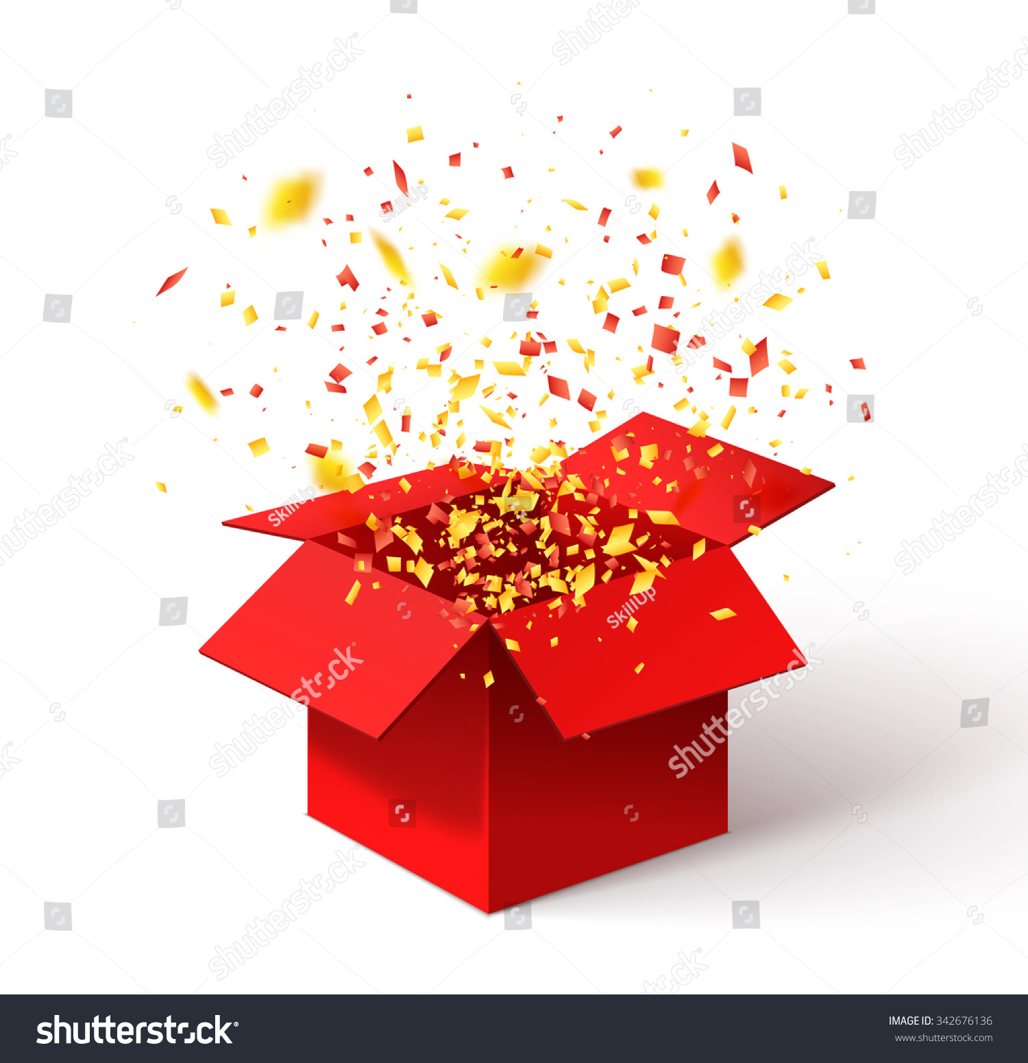 Open Red Gift Box Confetti Christmas Stock Vector ...