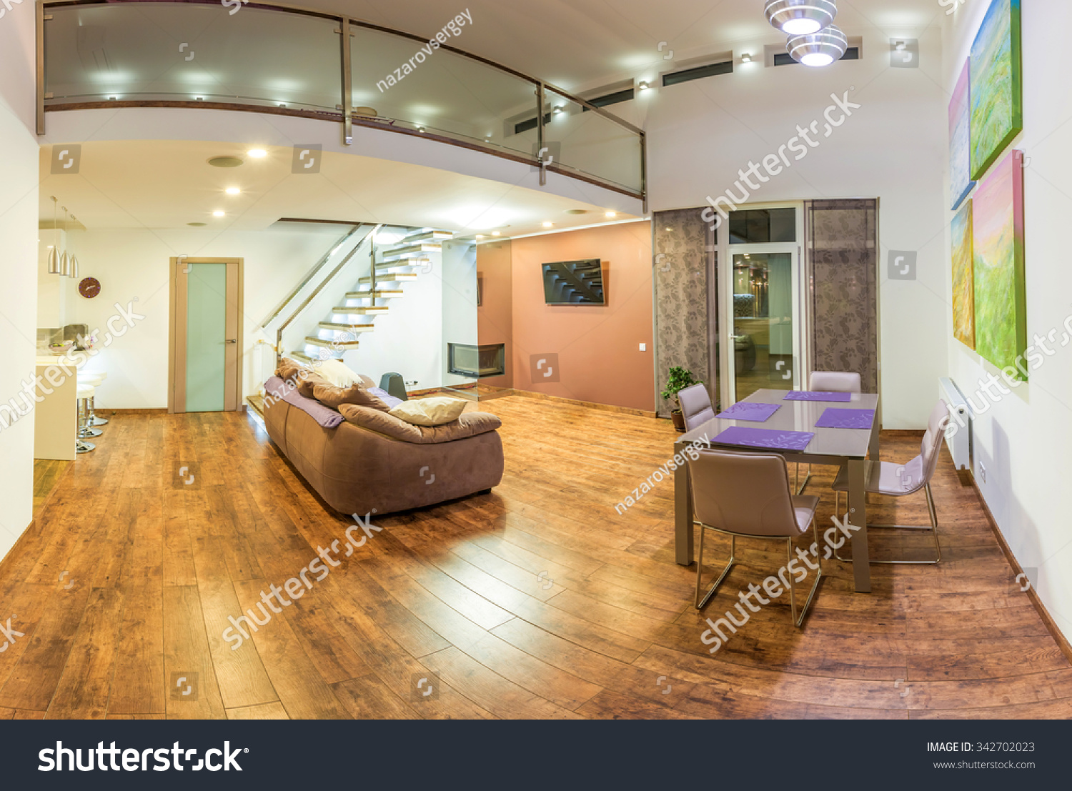 fantastic the home interior. Fantastic contemporary living room home interior  Dining Huge bright apartment with modern furniture Contemporary Living Room Home Interior Stock Photo