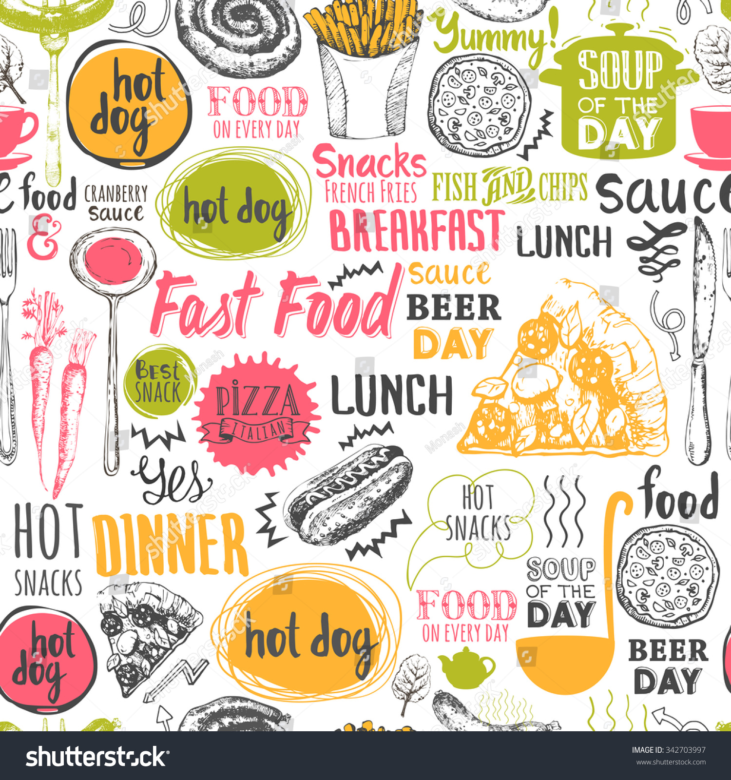 Seamless Background Fastfood Symbols Menu Pattern Stock Vector