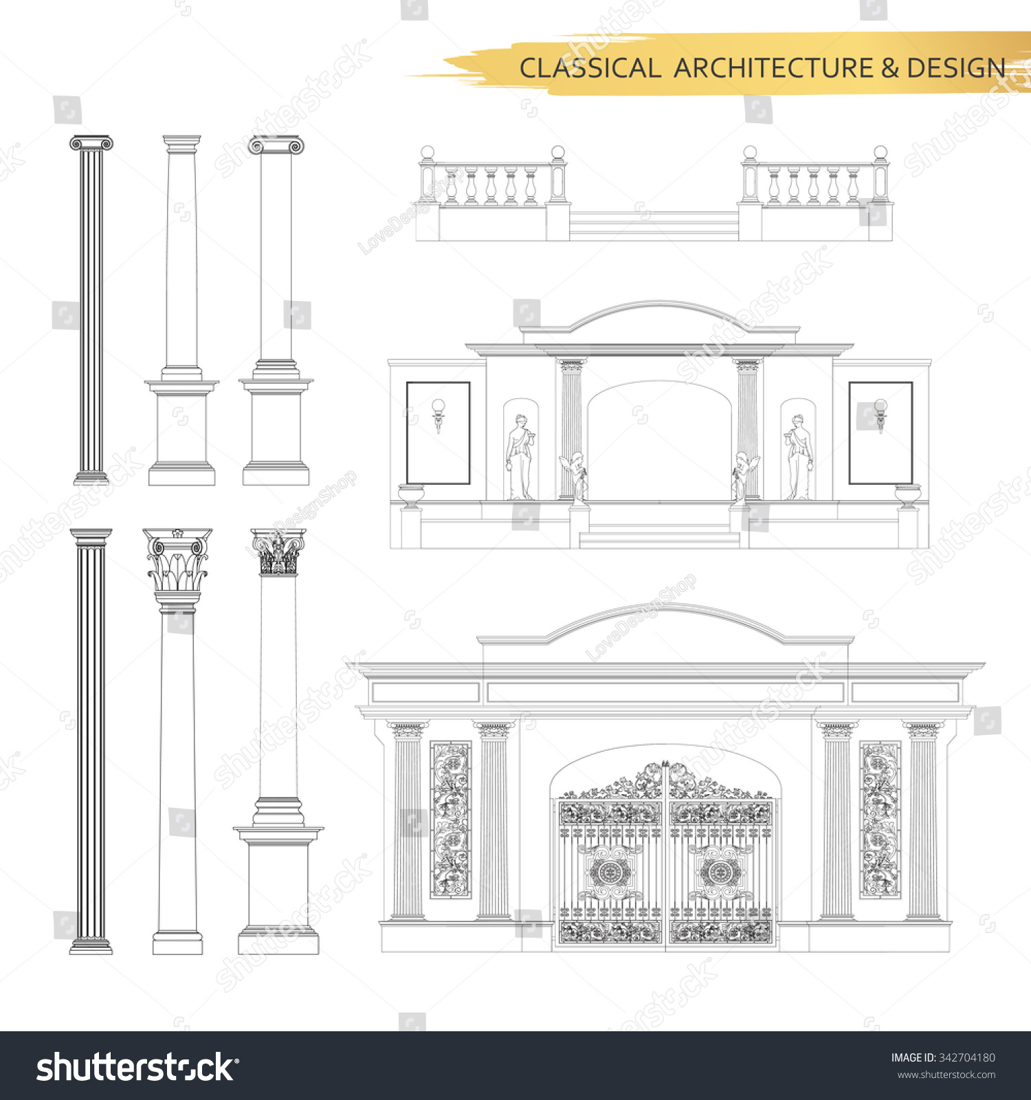 Classical Architectural Form Drawings In Set Vector