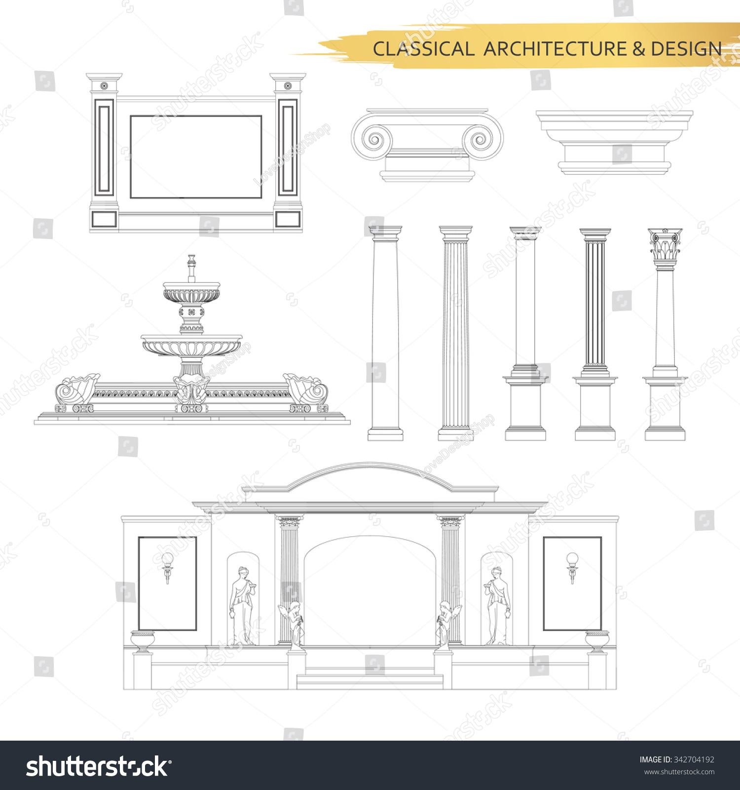 Classical Architectural Form Drawings Set Vector Stock Vector