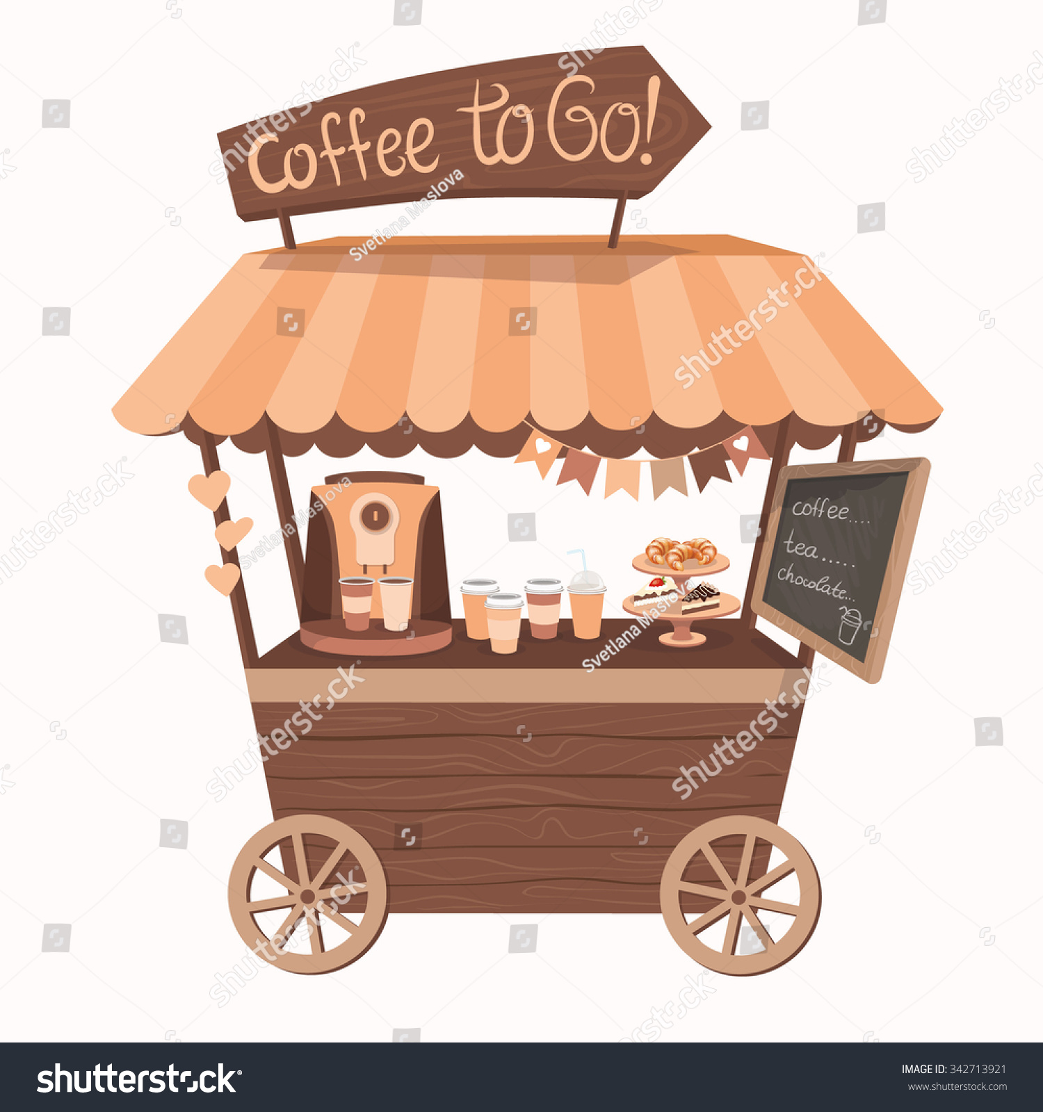 , tent or Coffee Shop with coffee maker. Stand on wheels with Coffee ...