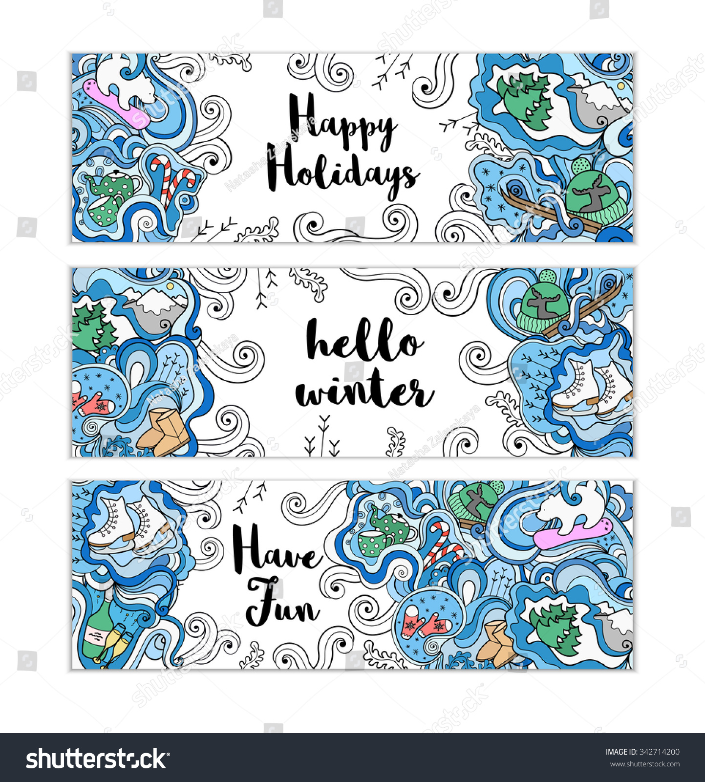 Winter Doodle Templates Set Colorful Background Stock Photo (Photo ...