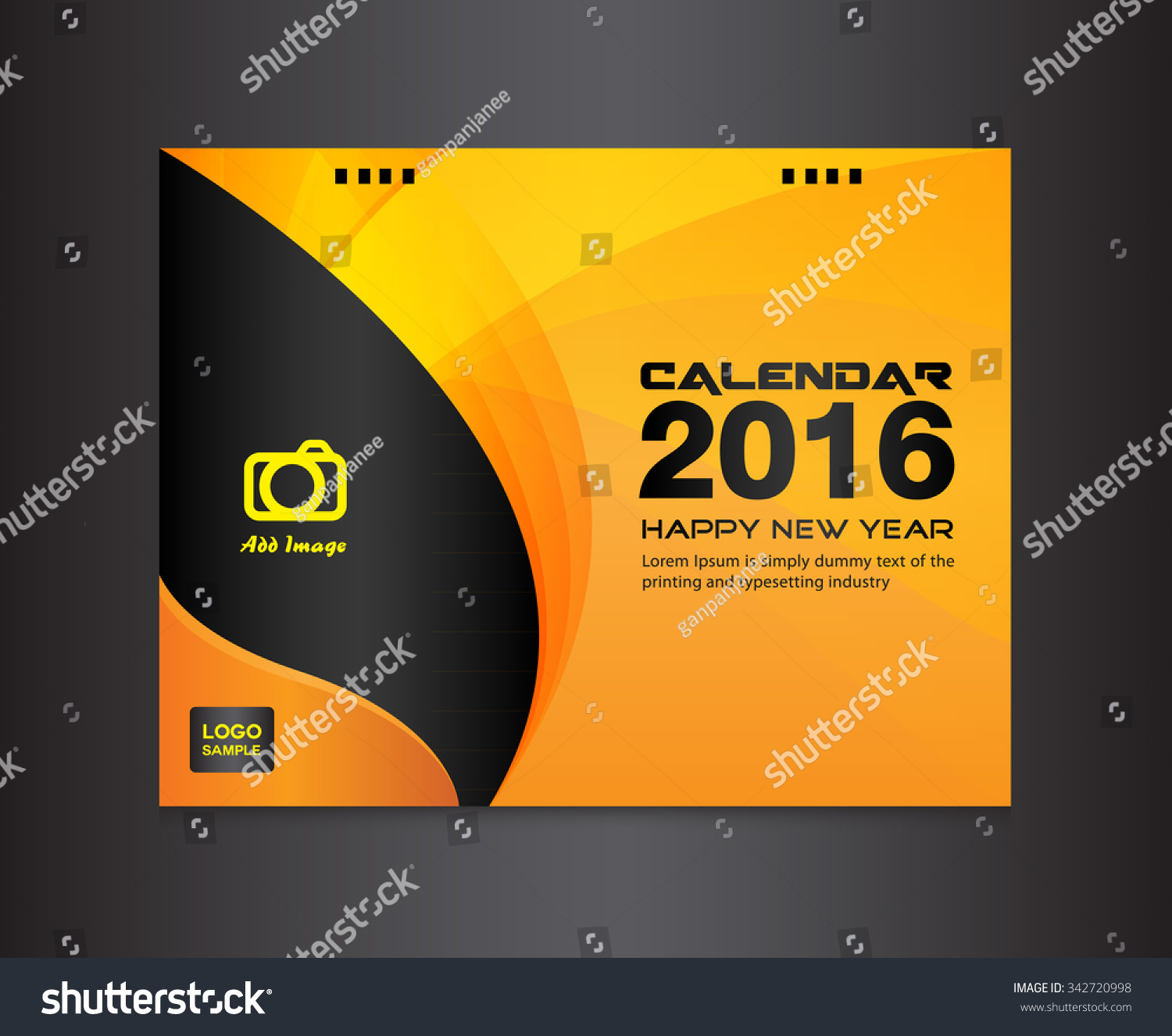 Cover Calendar Design Vector : Orange cover calendar design template
