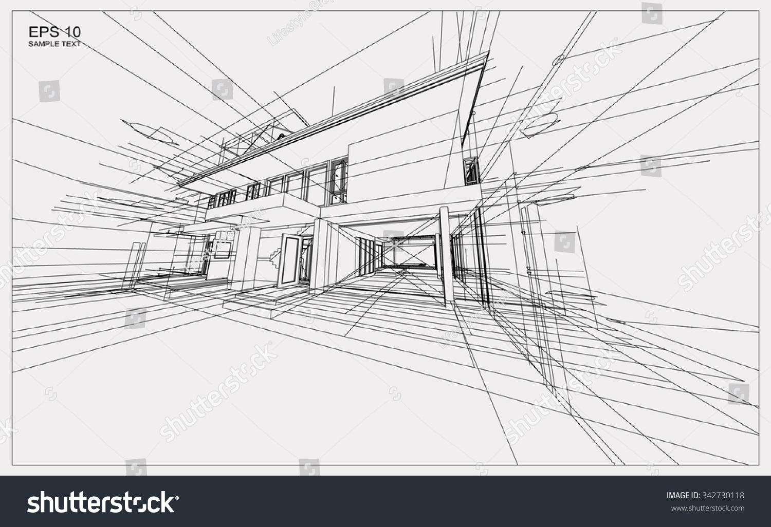 abstract 3d render building wireframe structure stock vector 342730118 shutterstock. Black Bedroom Furniture Sets. Home Design Ideas
