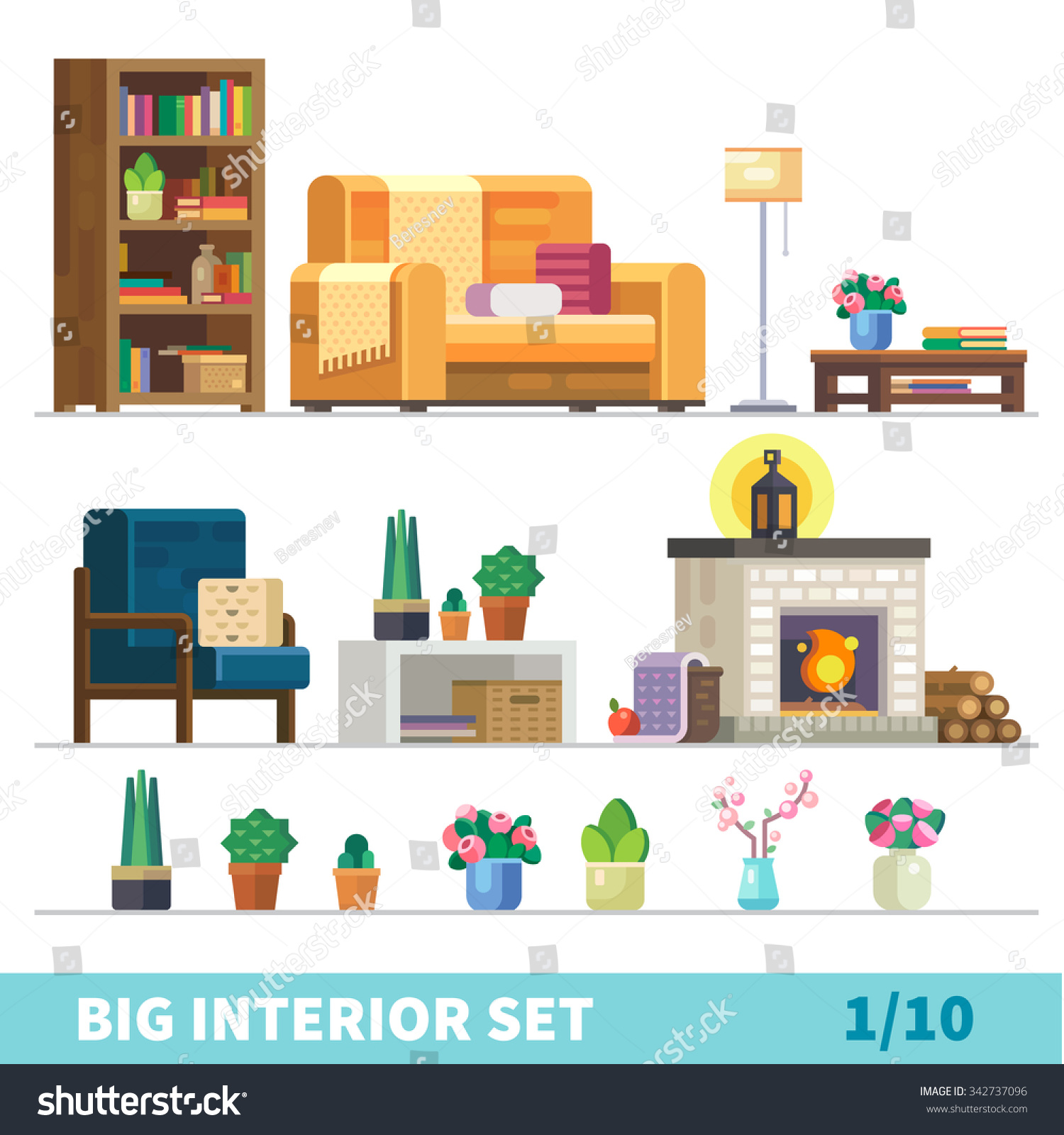 Cozy Living Room Vector Illustration: Big Detailed Interior Set. Cozy Living Room: Nice Couch