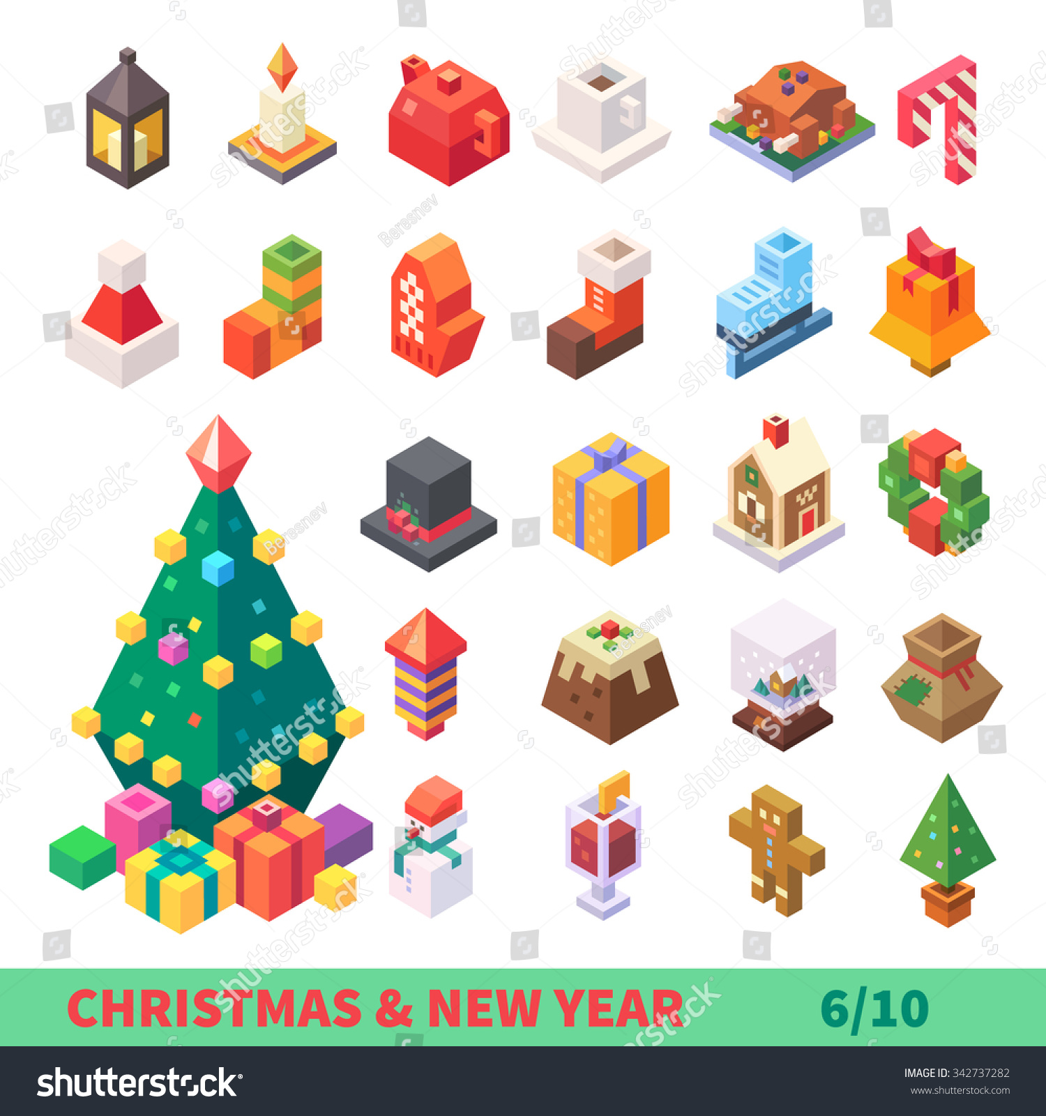 Fox with a hat new year or christmas animal isolated on white - Christmas And New Year Isometric Set Isolated Items Xmas Tree Lantern Candle
