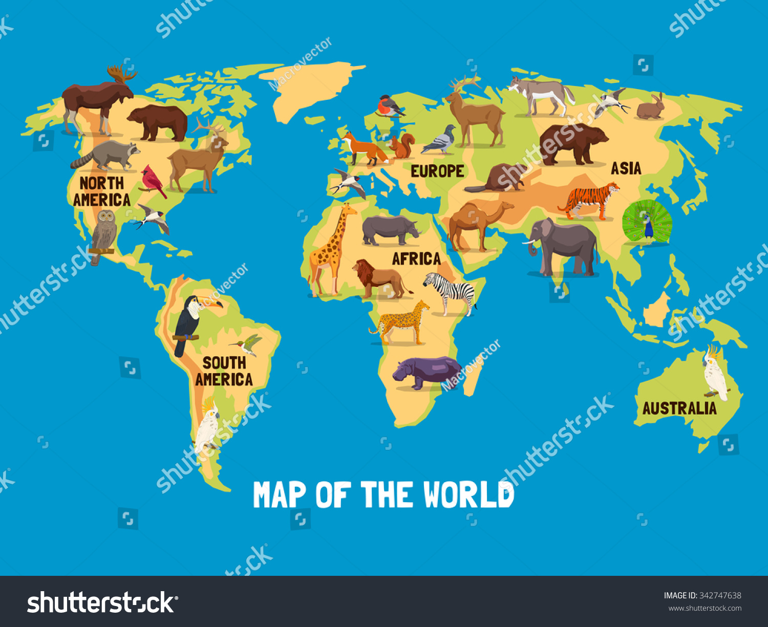 Flat map world animals living different vectores en stock 342747638 flat map of world with animals living in different parts of continents vector illustration gumiabroncs Gallery