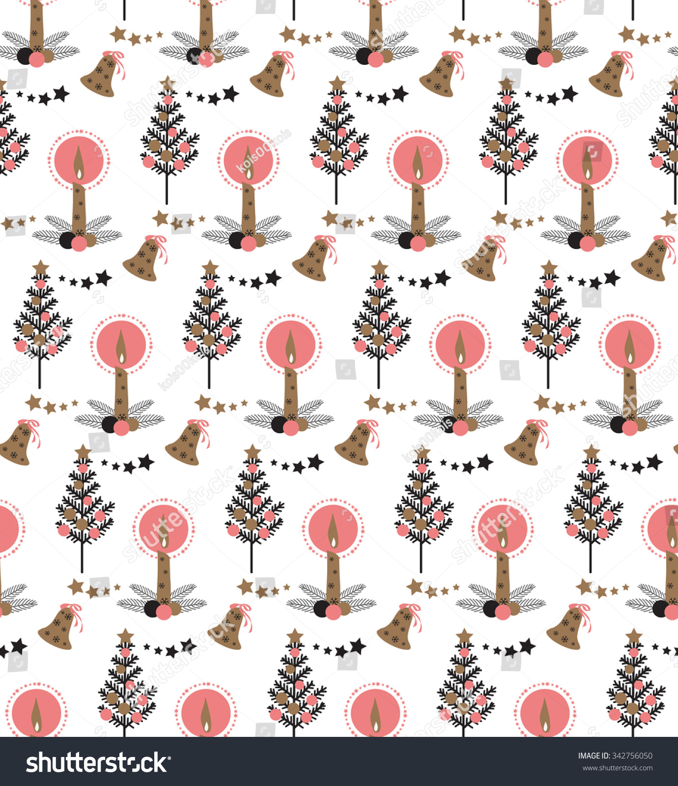 Christmas tree burning candle ornament bell stock vector 342756050 christmas tree burning candle ornament bell star seamless pattern on white background sciox Images