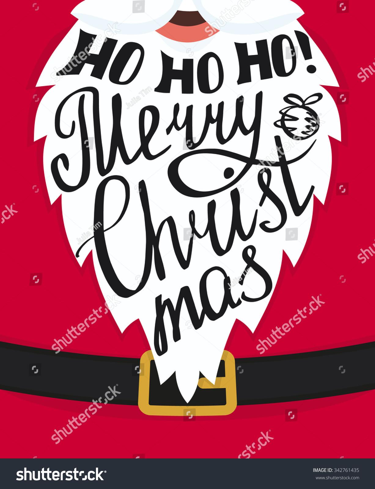 ho ho ho merry christmas handmade lettering on the santa claus white beard xmas greeting - Hohoho Merry Christmas