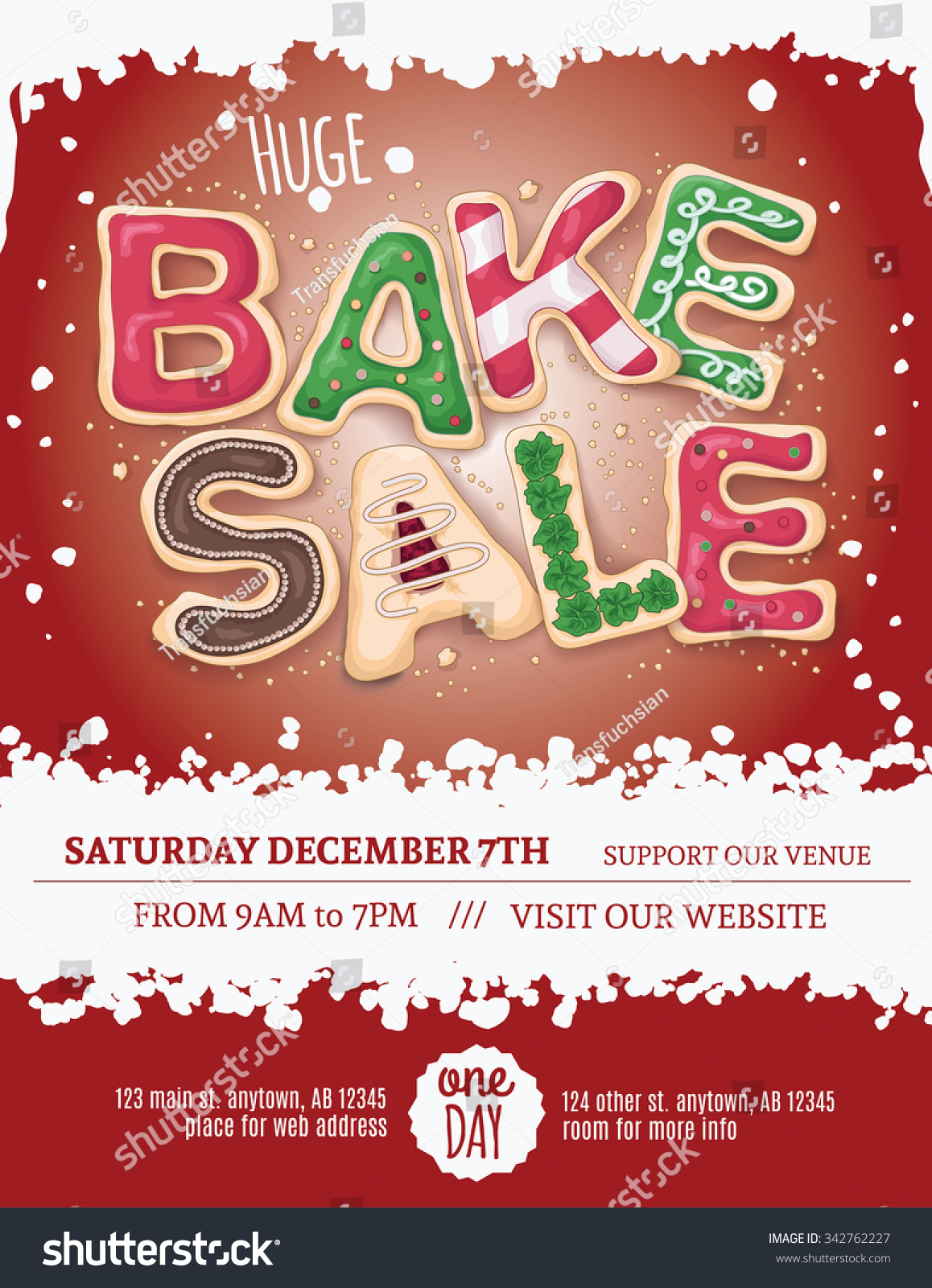 christmas bake flyer template hand stock vector  christmas bake flyer template hand drawn cookie letters on a red background