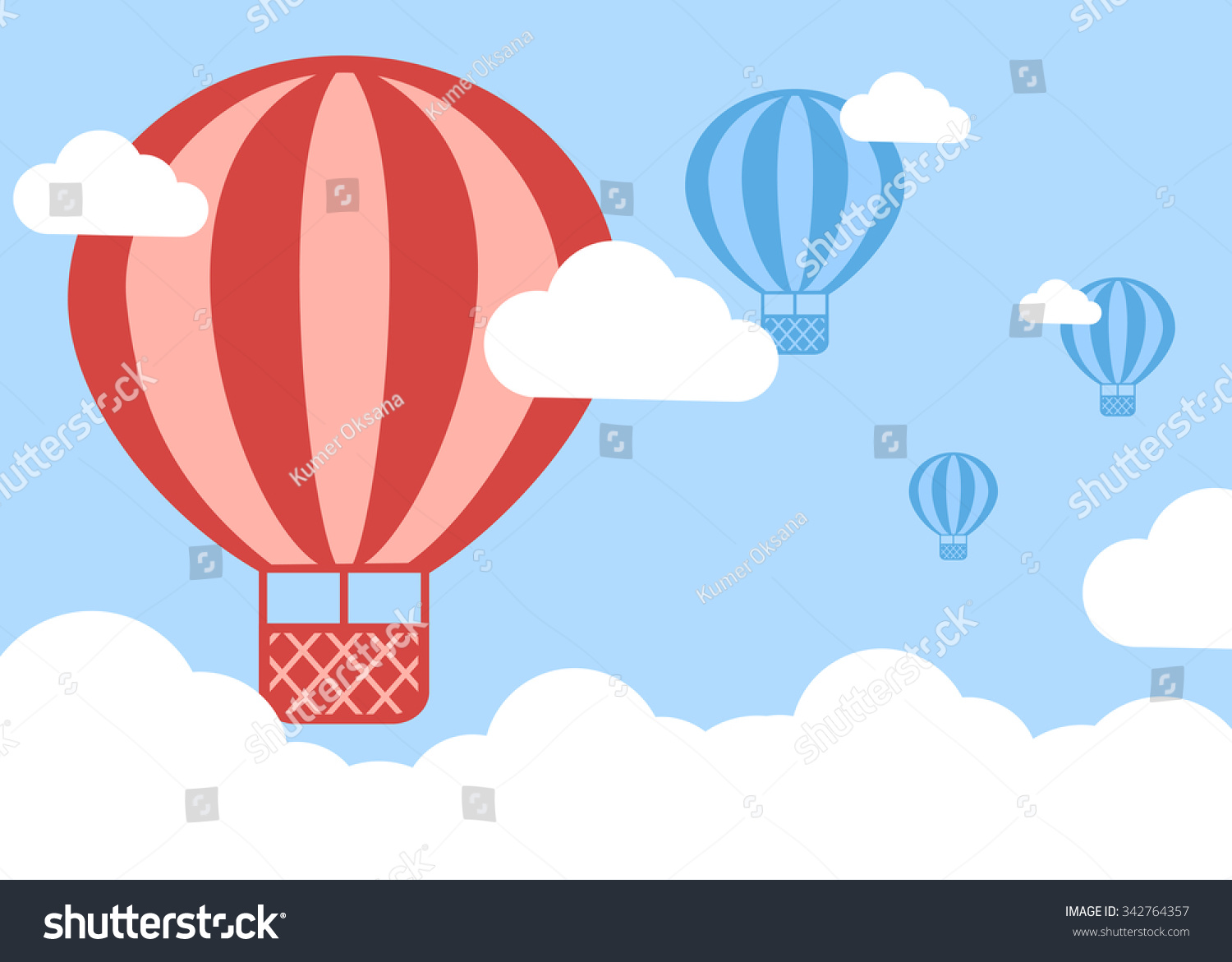 Hot Air Balloon Over Clouds Background Stock Illustration - Royalty ...