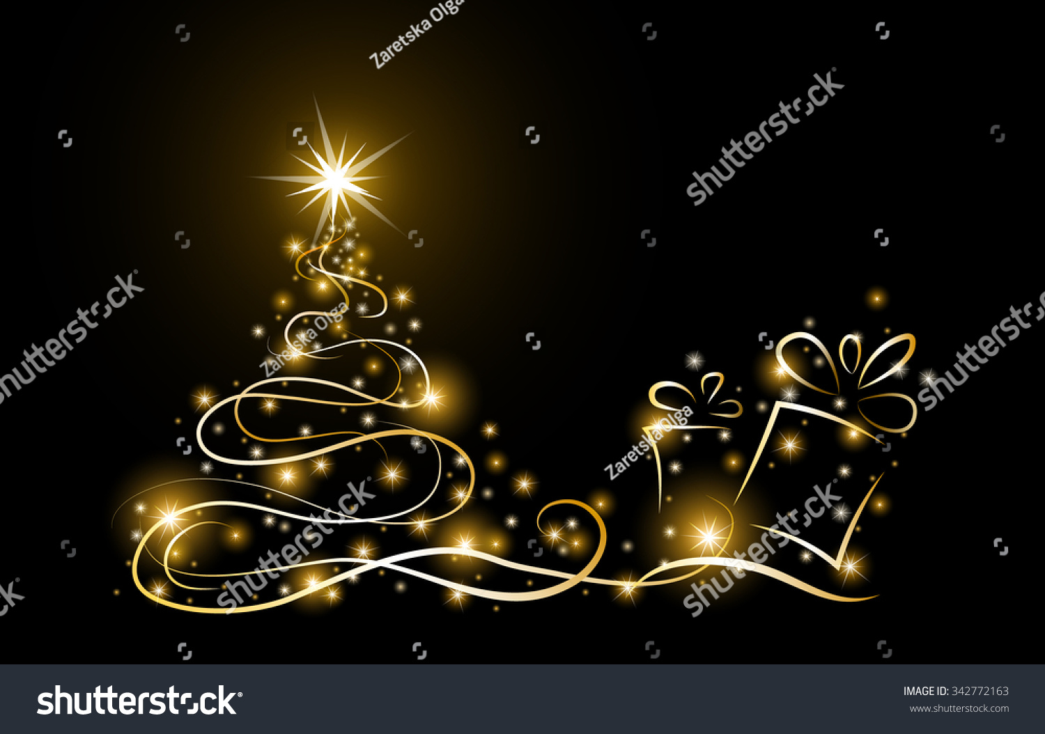 Abstract Gold Christmas Tree Glowing Stars Stock Vector