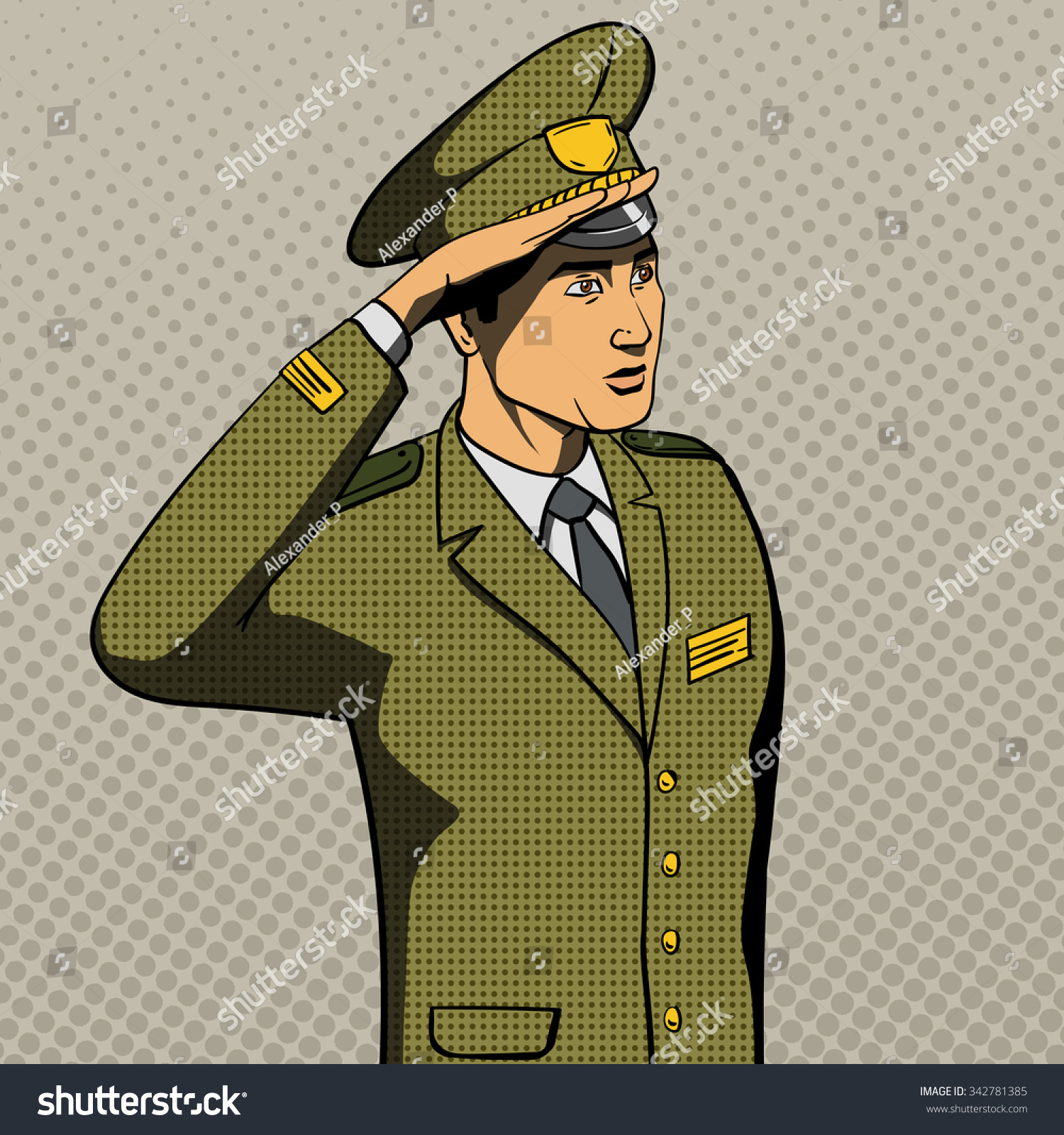 military man salutes pop art style stock vector