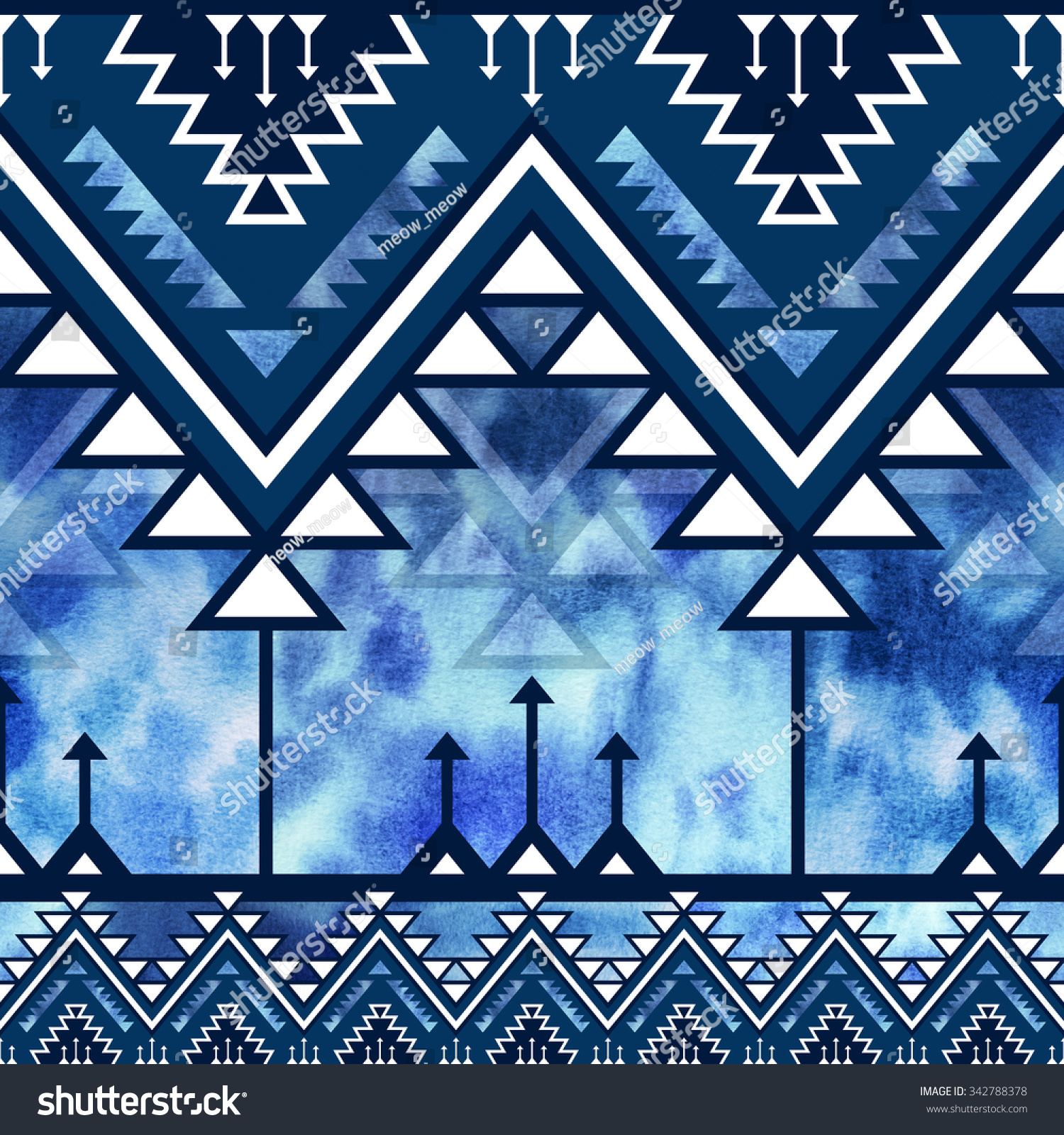 Blue Tribal Wallpapers: Blue Tribal Navajo Seamless Pattern Watercolor Stock