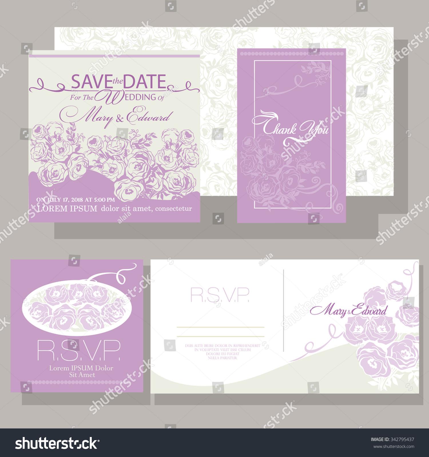 Colorful wedding set. Beautiful wedding invitation templates for ...