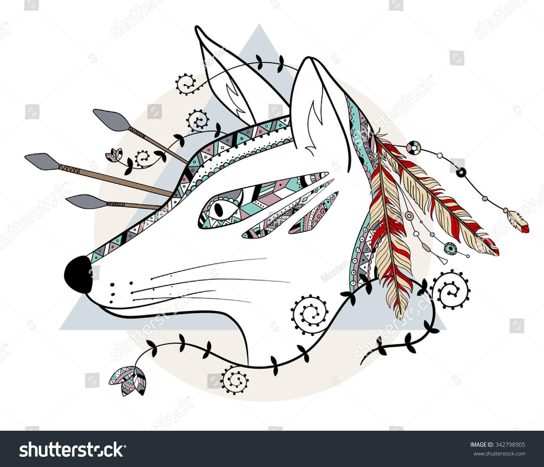 Decorative Native Apache Boho Shaman Warrior Stock Vector Royalty