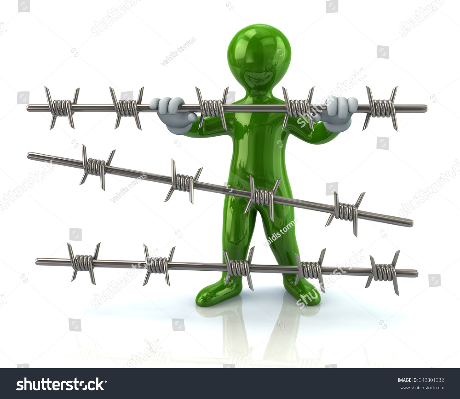 Green Man Holding Barbed Wire On Stock Illustration 342801332 ...