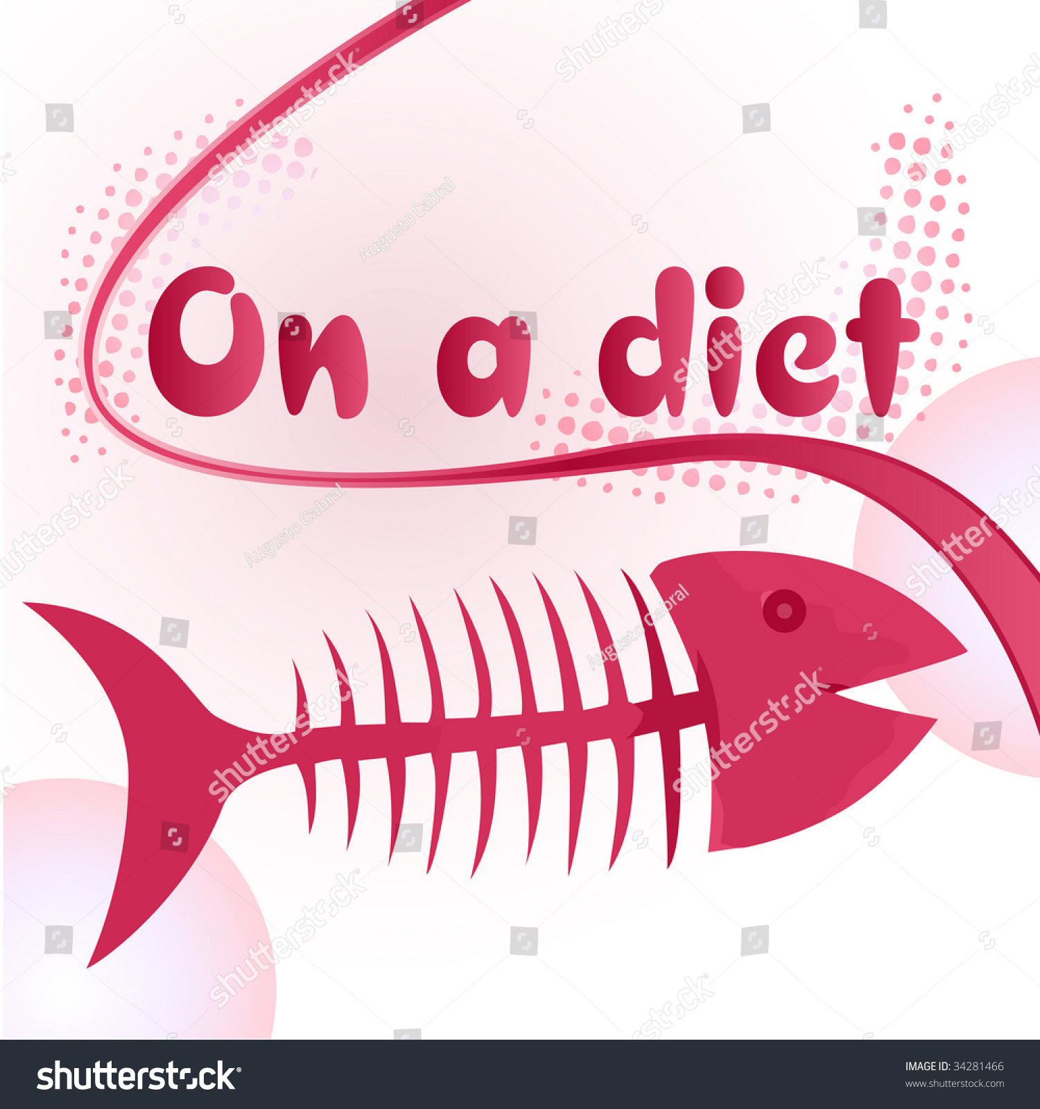 On a diet sign with funny fish bone illustration for Funny fishing songs