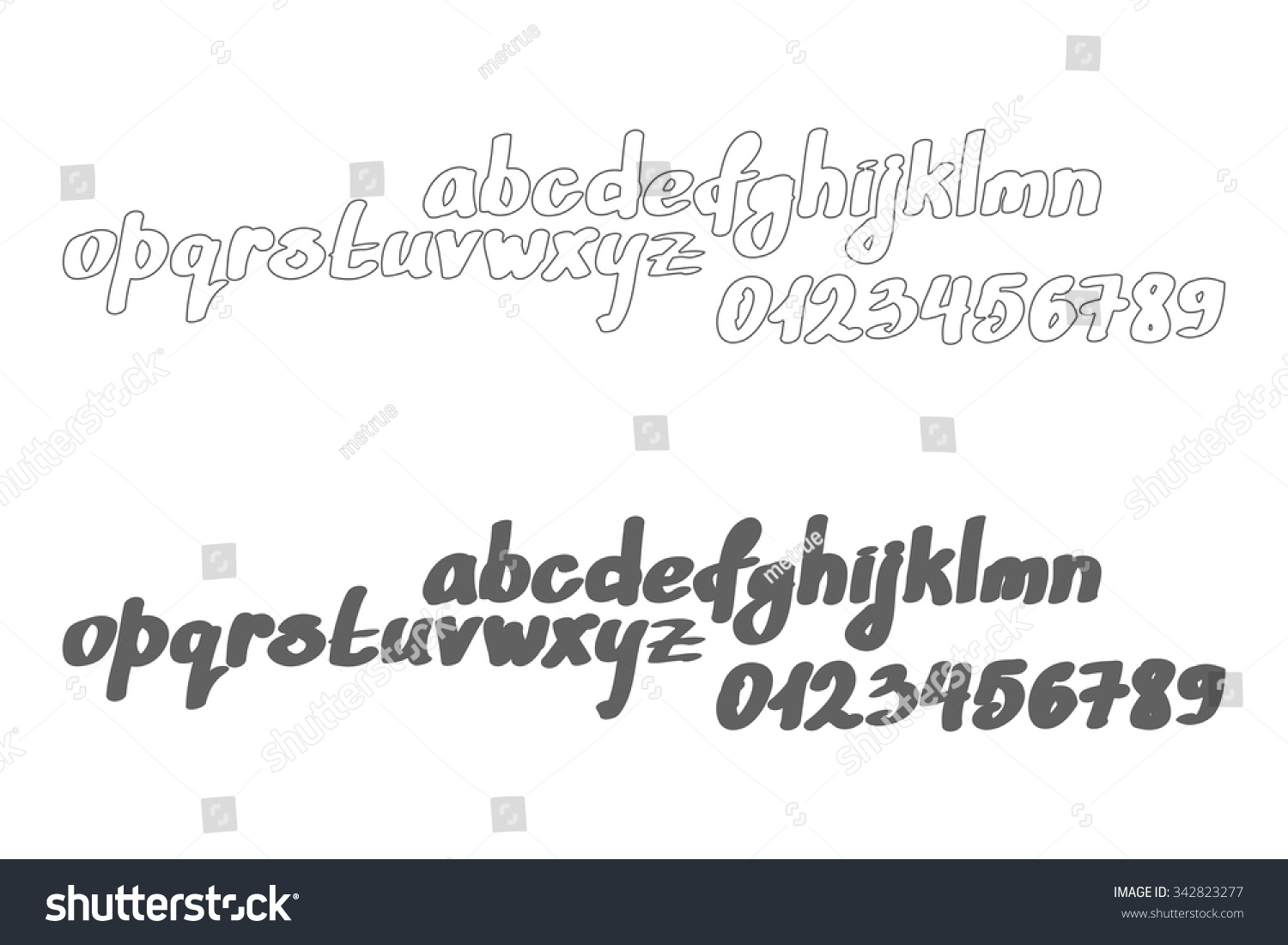 Set Cursive Alphabet Letters Isolated On Stock Vector Royalty Free
