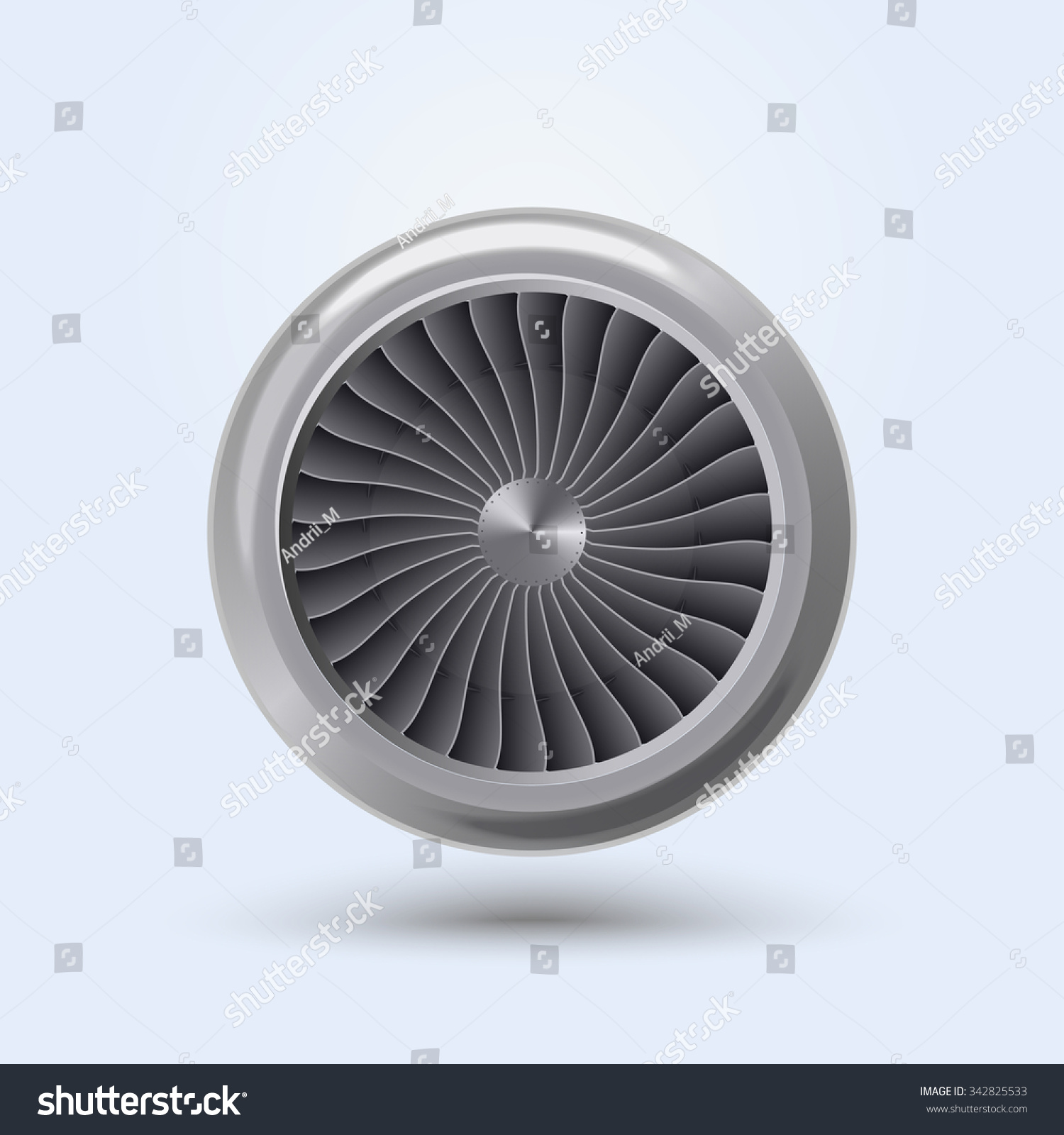 Jet Engine Realistic Front View Aircraft Stock Vector