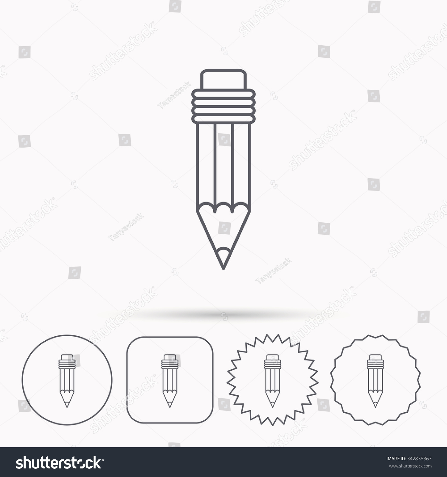 Pencil Icon Drawing Tool Sign Linear Stock Vector 342835367 ...