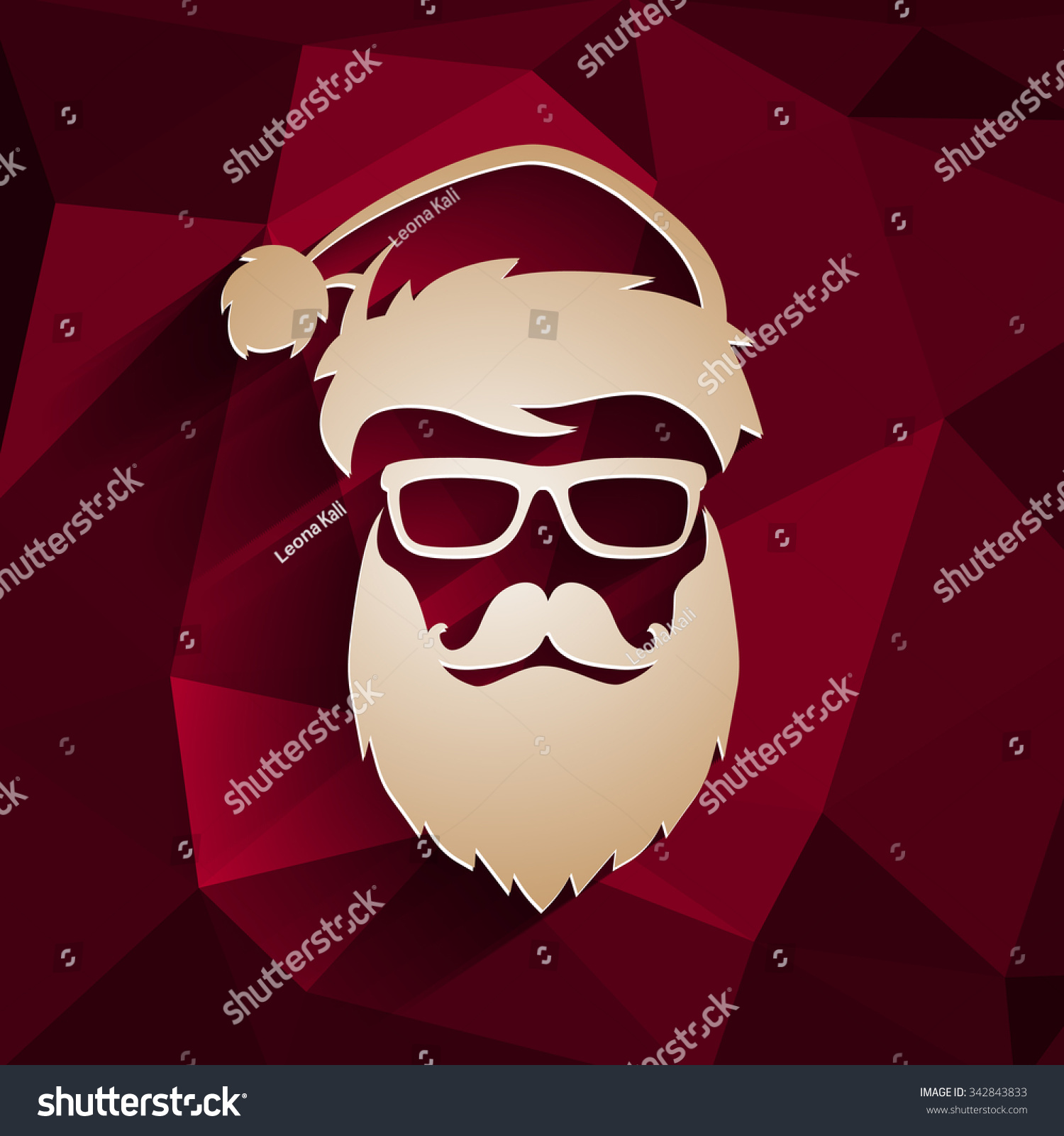 Vector Hipster Santa Claus Fashion Silhouette Stock Vector ...