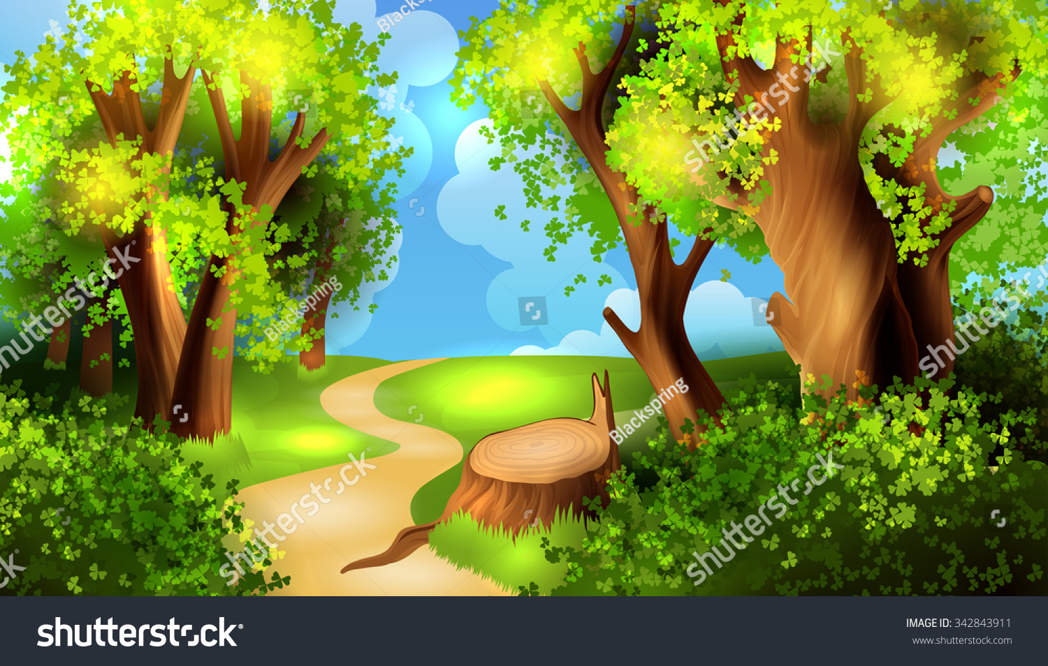 Cartoon Forest Background Stock Vector 342843911 ...