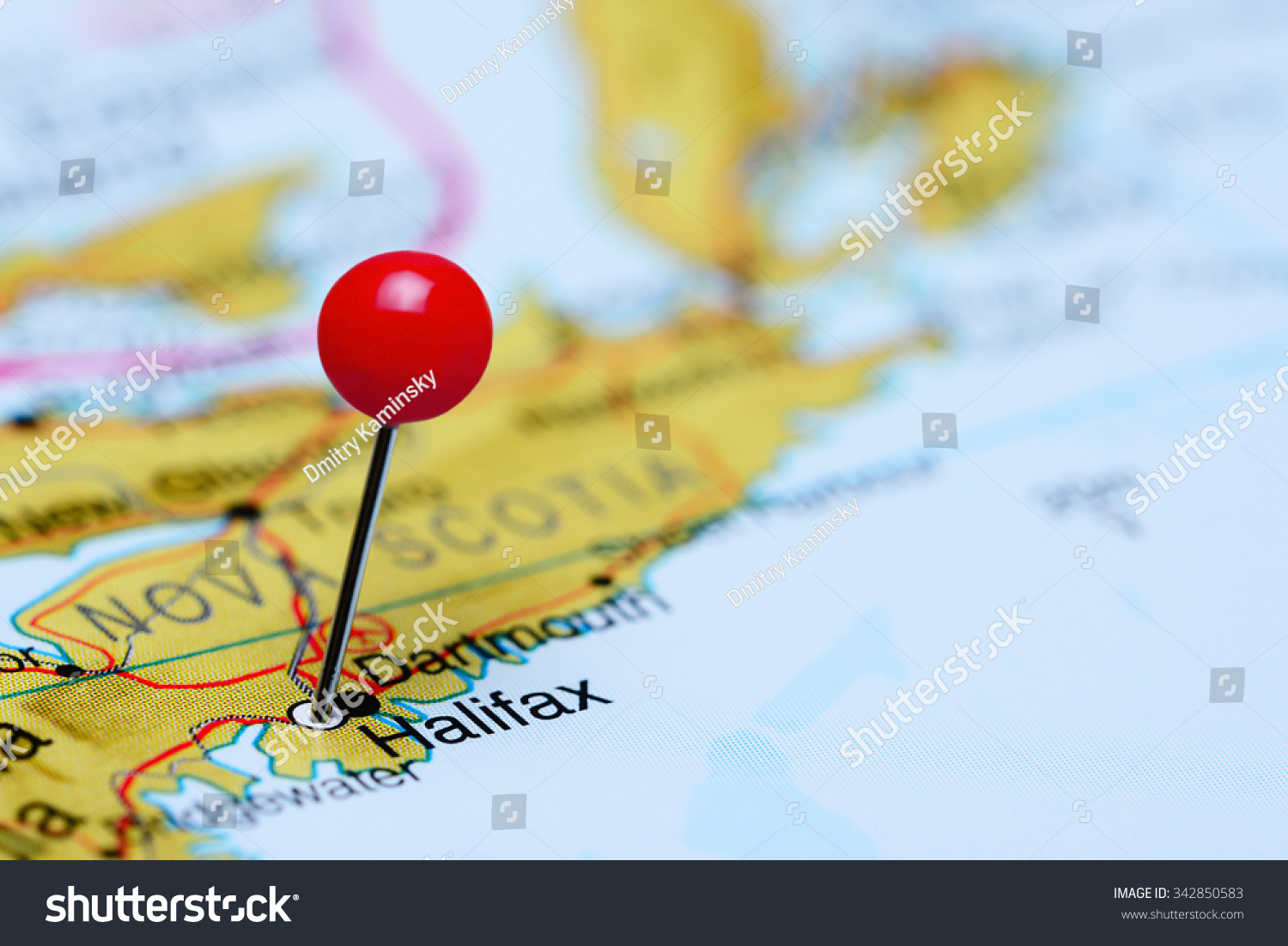 Map Of Canada Halifax.Halifax Pinned On Map Canada Stock Photo Edit Now 342850583