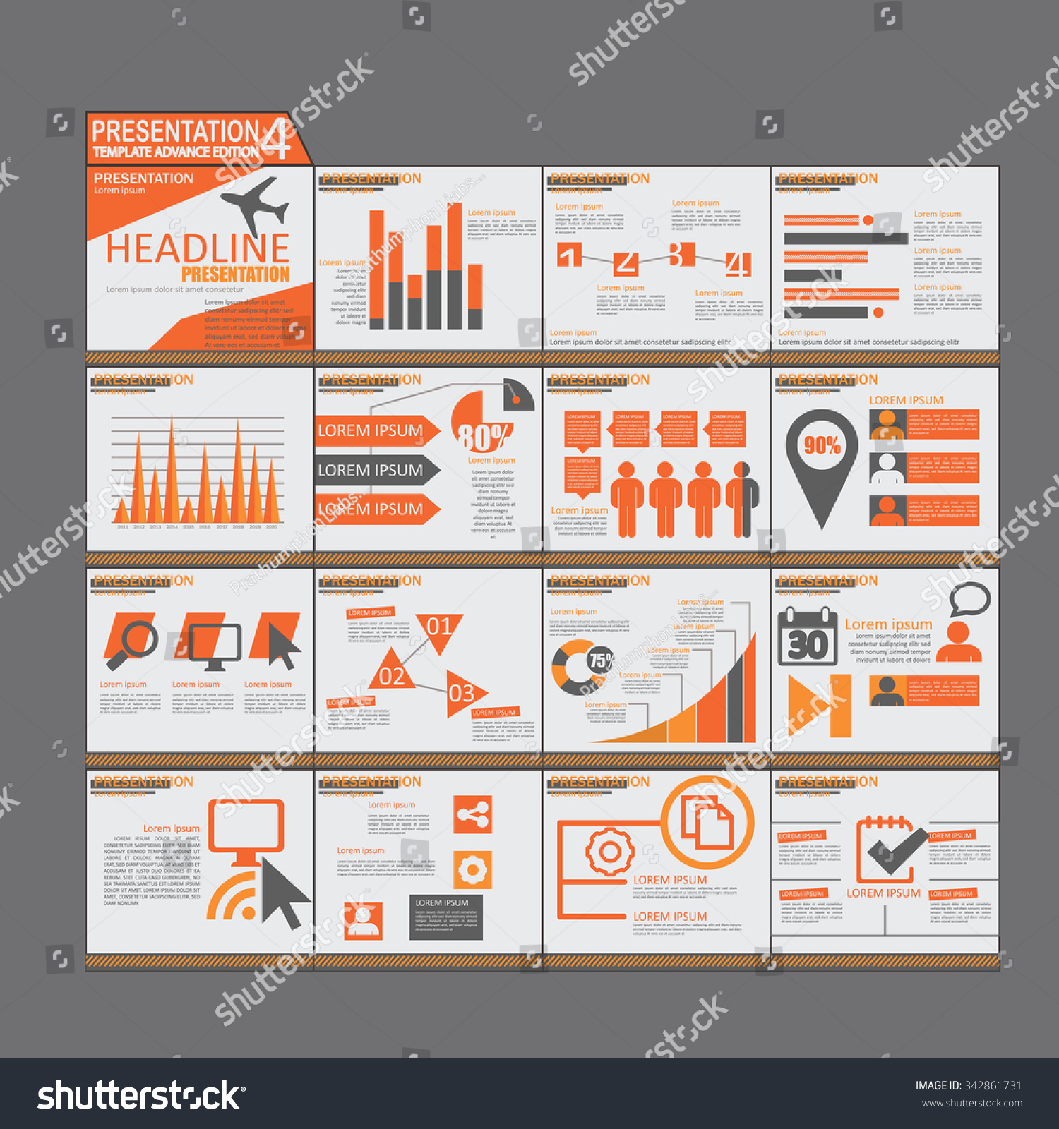 Orange Presentation Infographic Elements Template Flat Stock Vector