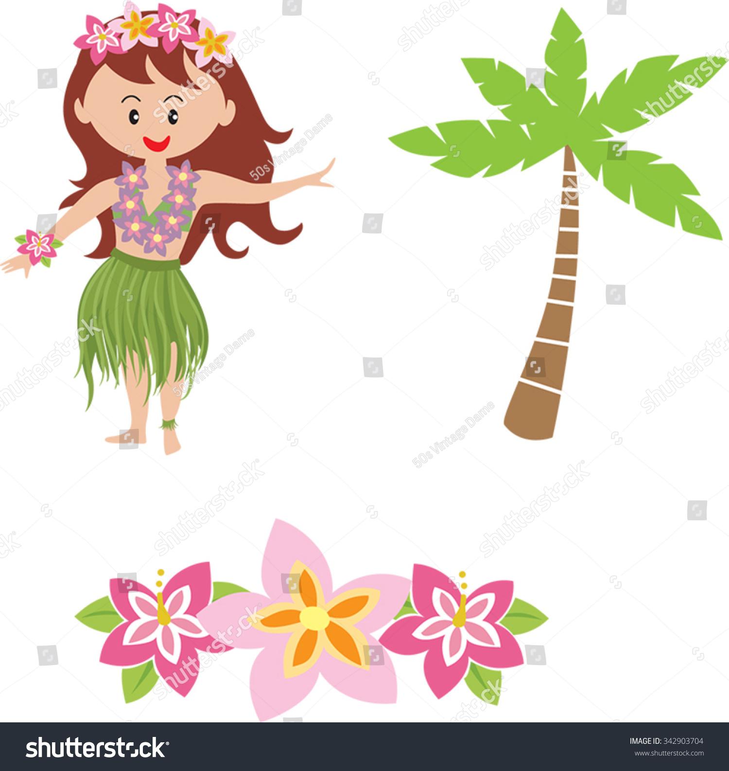 Cute Cartoon Hula Girl Cartoon Hawaiian Stock Vector Royalty Free