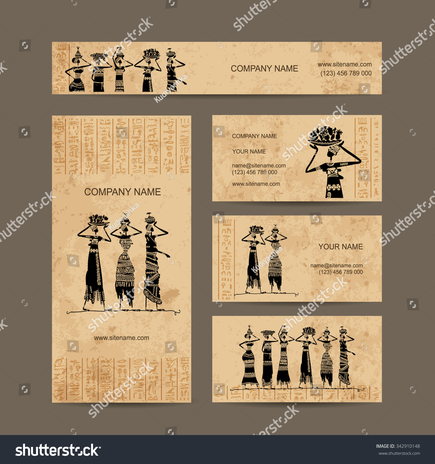Sketch egypt women jugs business cards stock vector 342910148 sketch of egypt women with jugs business cards design vector illustration colourmoves
