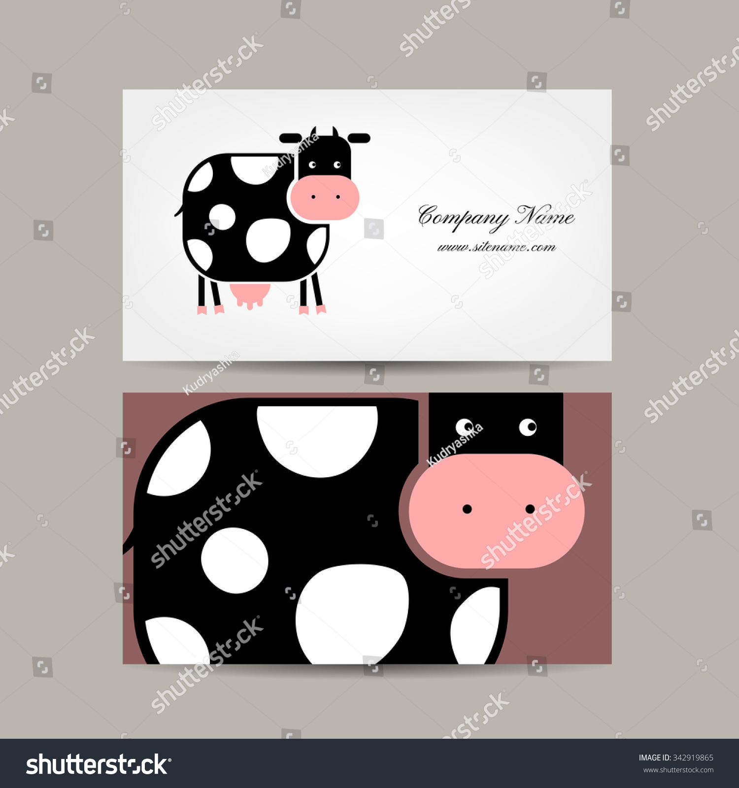 Business Cards Design Funny Cow Vector Stock Vector 342919865 ...