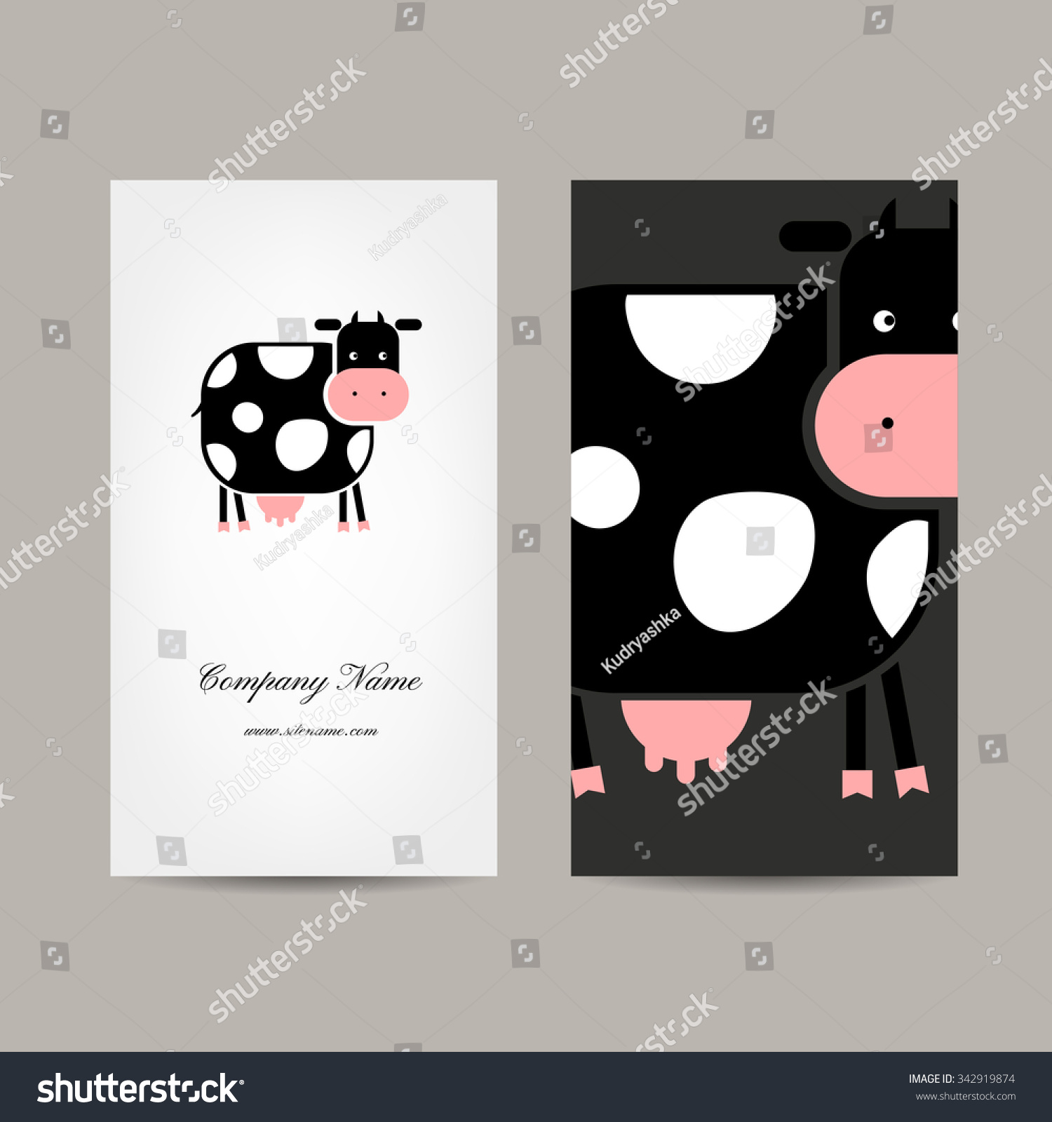 Business Cards Design Funny Cow Vector Stock Vector 342919874 ...