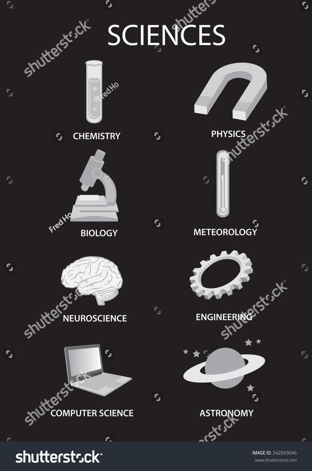 Iconic Symbols Represent Different Branches Science Stock Vector Royalty Free 342943046